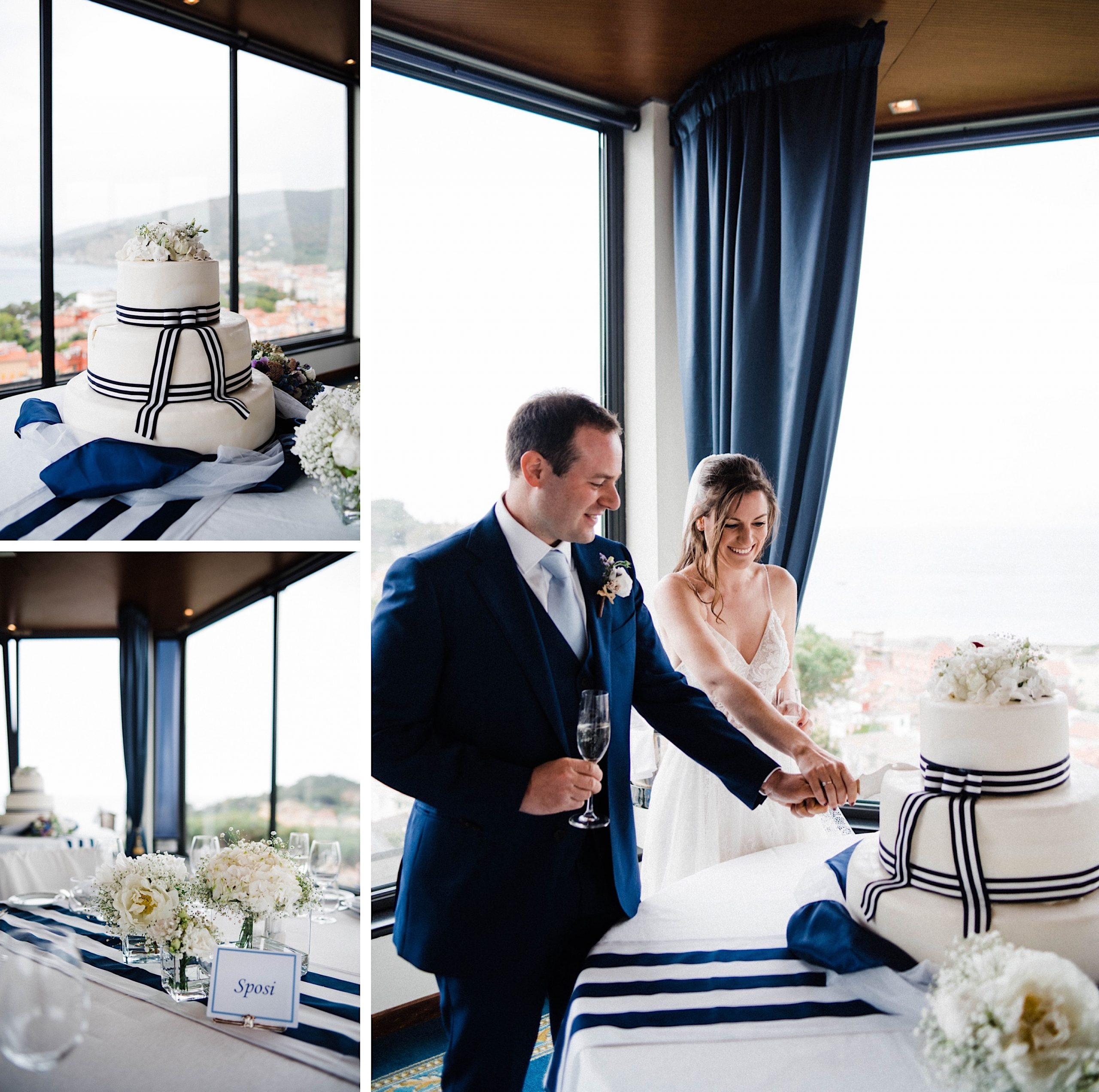 A collage of photos from a Destination Wedding Reception at the Hotel Vis À Vis in Sestri Levante, including of the cake, flower arrangements and the cake cutting.