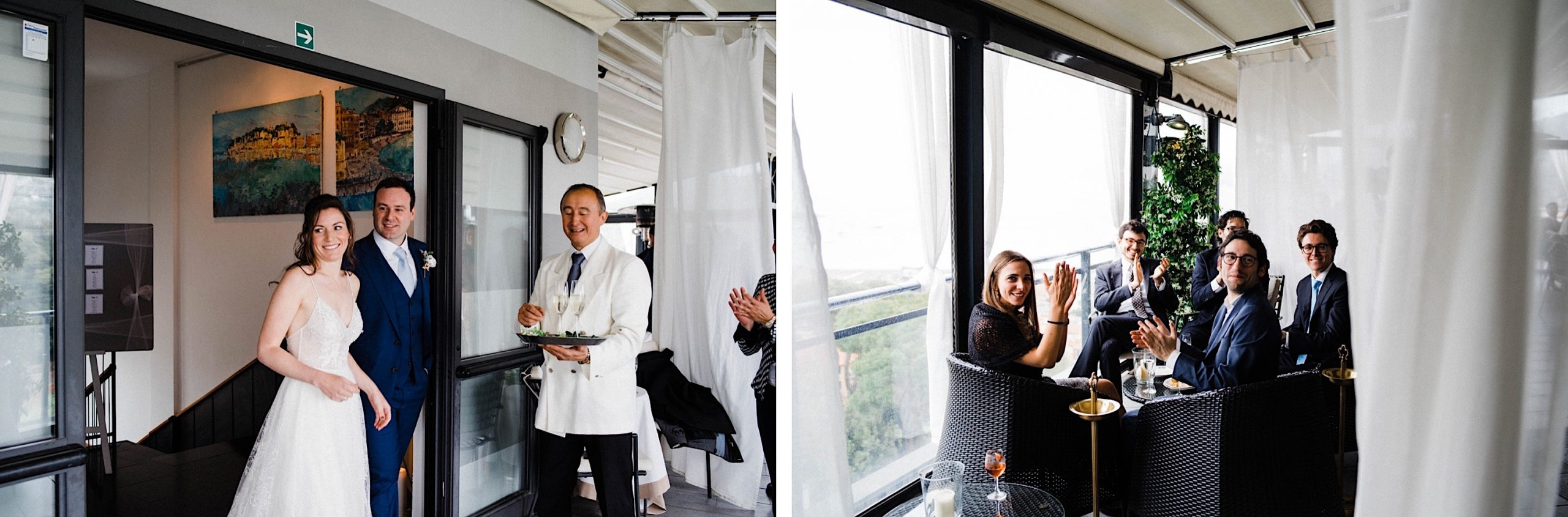 Two photos from a Wedding Reception at the Hotel Vis À Vis of the bride & groom entering the rooftop aperitivo and guests cheering.