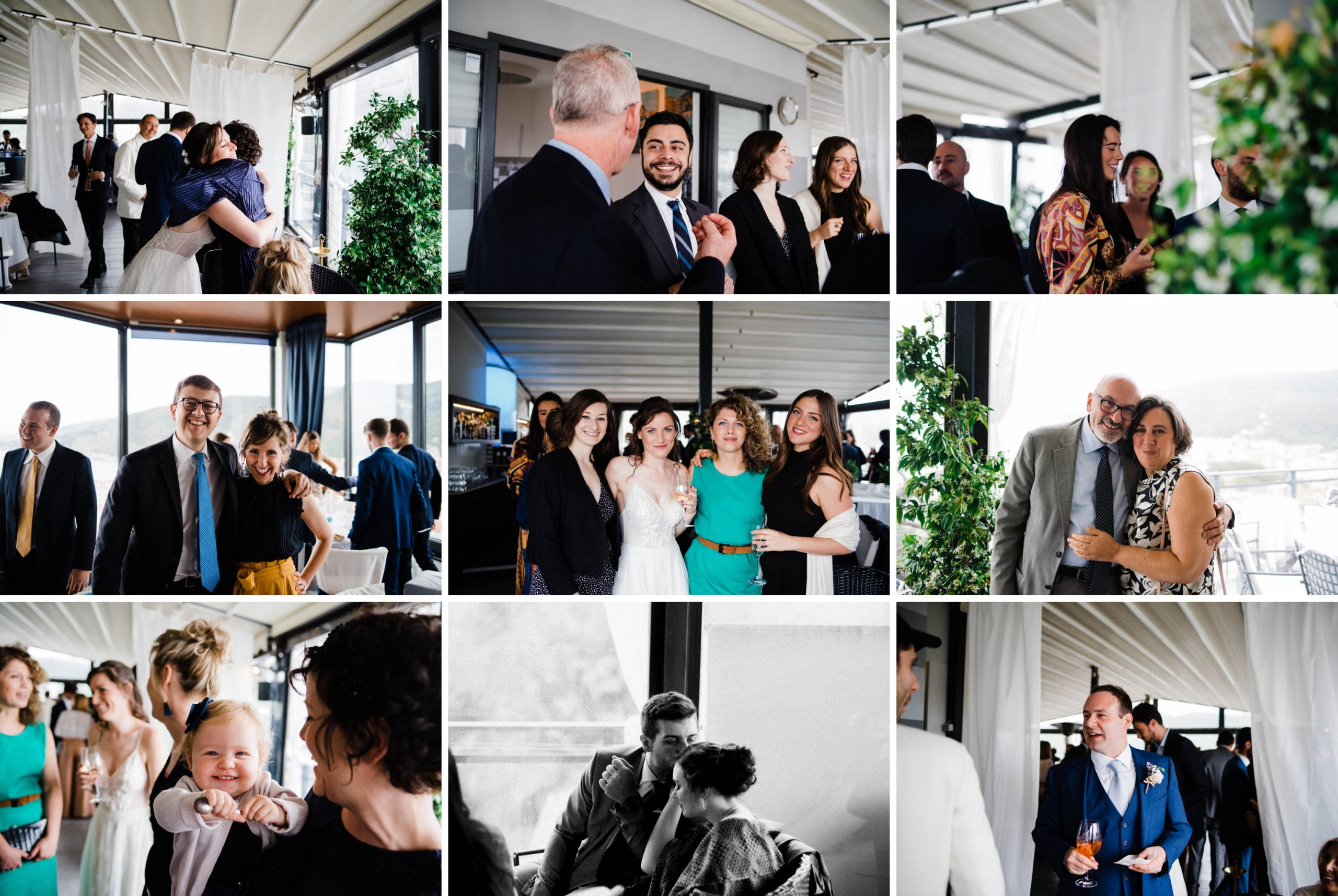 A collage of Candid Wedding Photos of guests taken at a Destination Wedding Reception at the Hotel Vis À Vis, Sestri Levante.