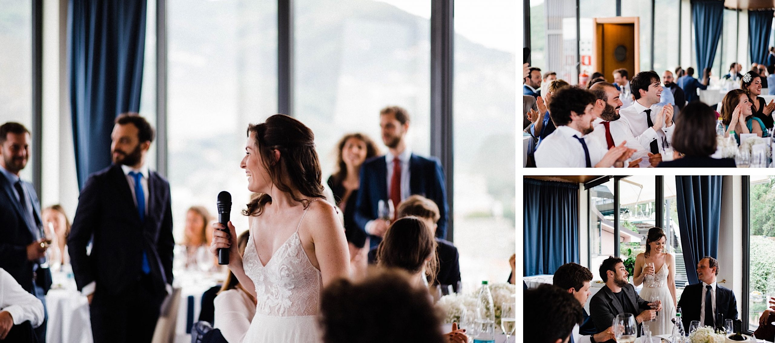 Three photos taken at a Wedding Reception in Sestri Levante, of the bride during her speech and guests reactions.