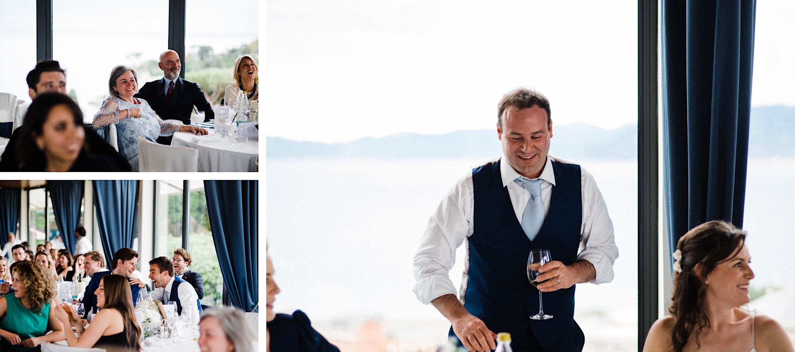 Candid wedding photography of the Groom laughing during his speech and candid photos of guests reactions.