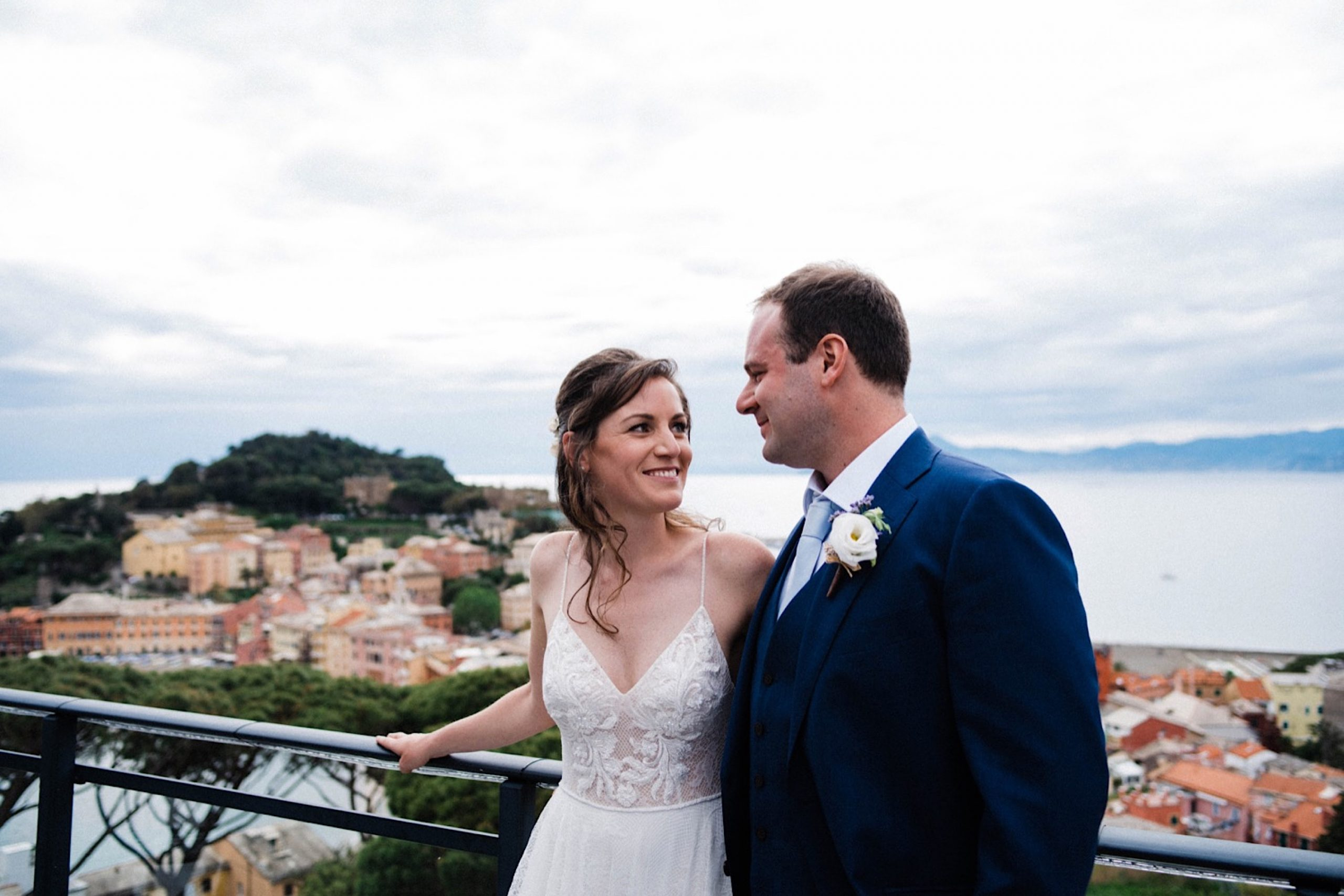 A Destination Wedding Portrait taken from the rooftop at the Hotel Vis À Vis in Sestri Levante, Italy.