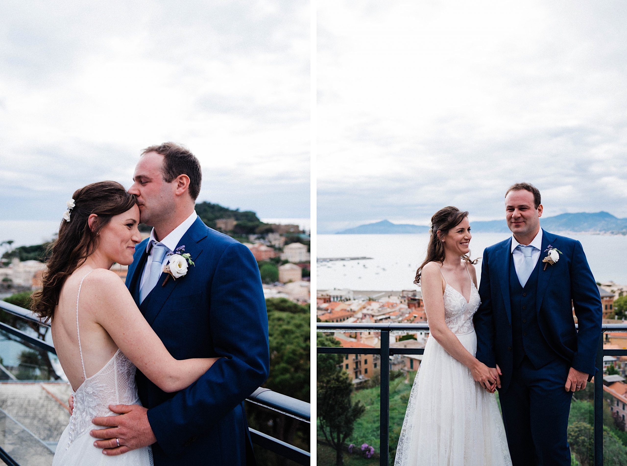 Italian Destination Wedding Photography of two newlyweds standing next to each other and sharing a moment on the Hotel Vis À Vis Rooftop.
