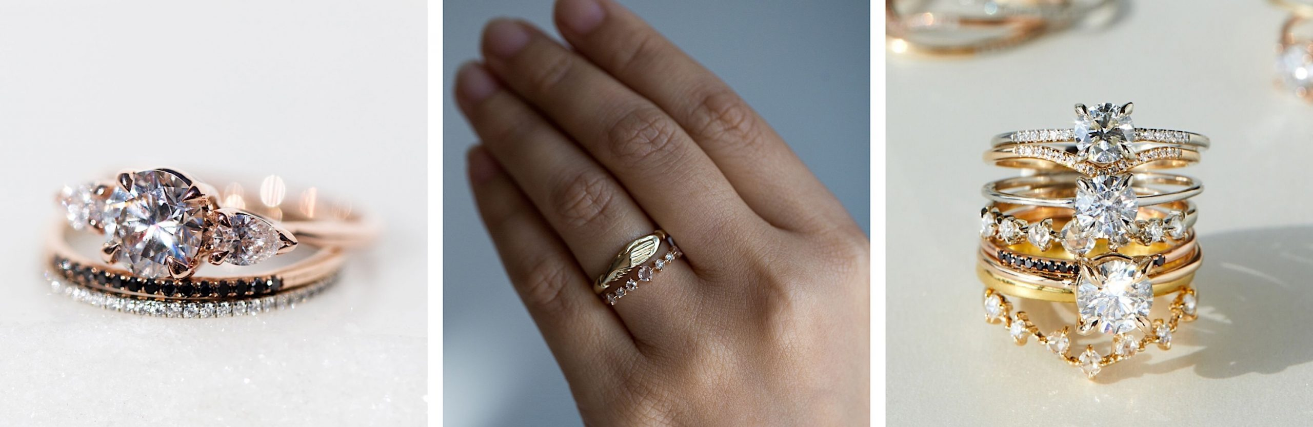 Three images side-by-side showcasing sustainable wedding and engagement rings by Catbird NYC.