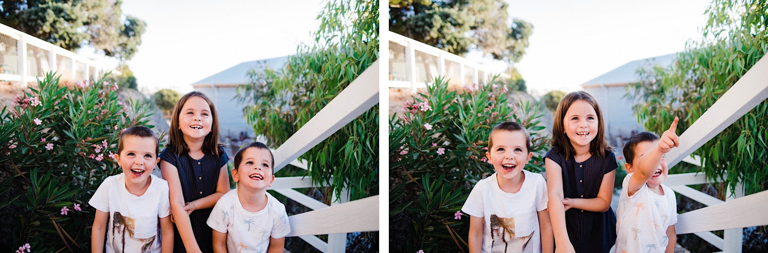 Side-by-side photos of three kids, surrounded by greenery, looking up and laughing at their parents.