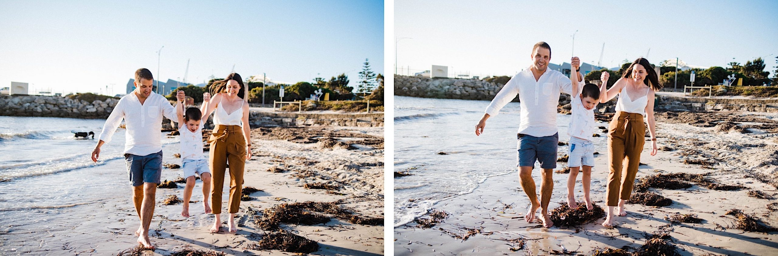 Two side-by-side portraits of a Mum and Dad swinging their youngest son along the beach in Fremantle.