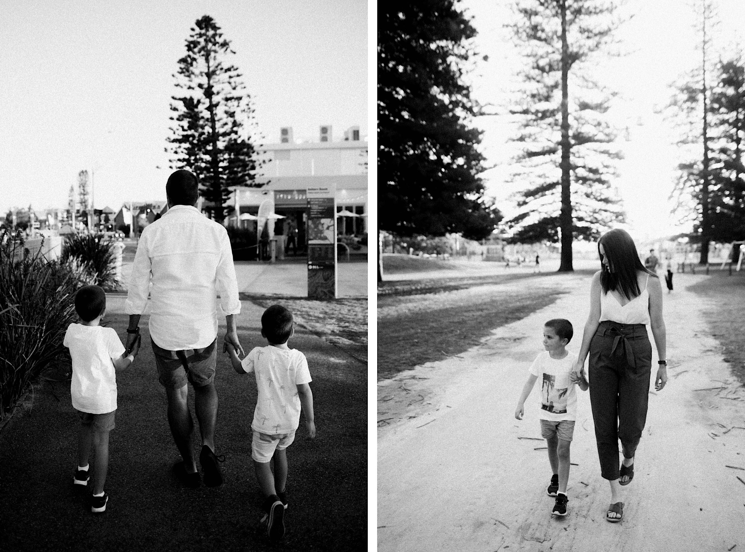 Two side-by-side black and white, natural portraits of a Mum and Dad walking through the Esplanade Park in Fremantle with their children.