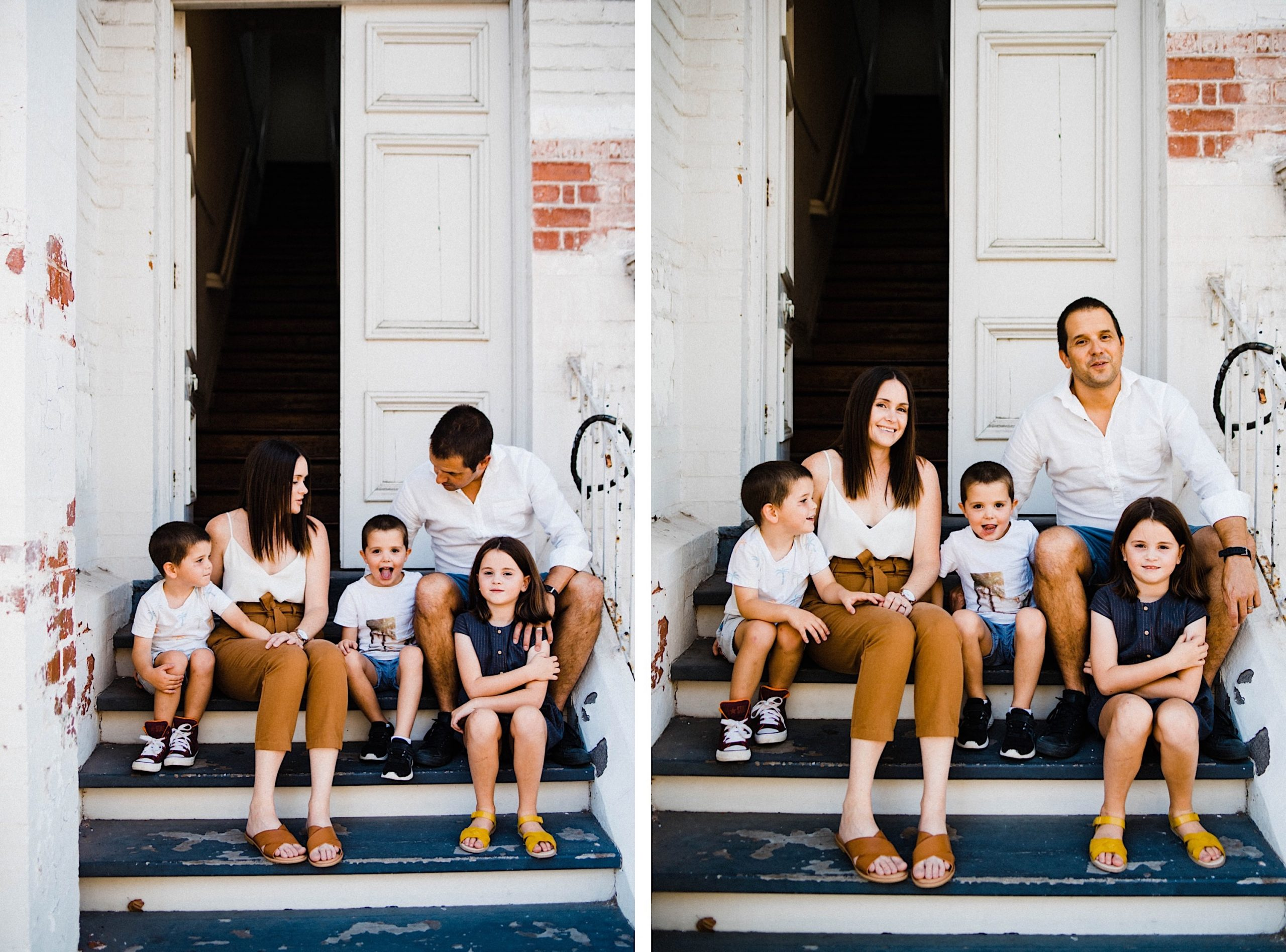 Two candid family photos, side-by-side, of a family of five sitting on some steps in Fremantle.