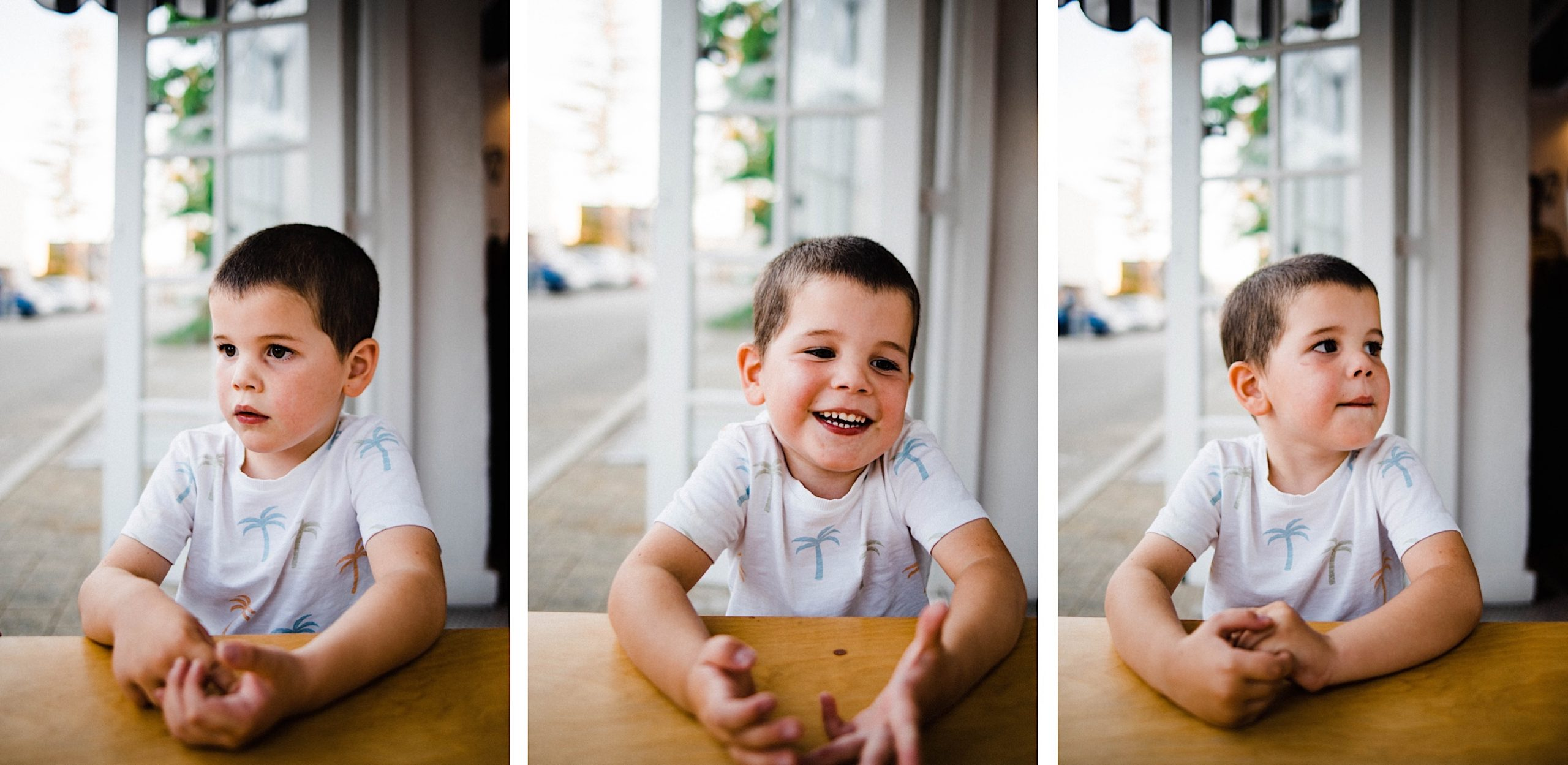 Three photos, side-by-side, of a boy talking and using his hands expressively during a candid family portrait session.