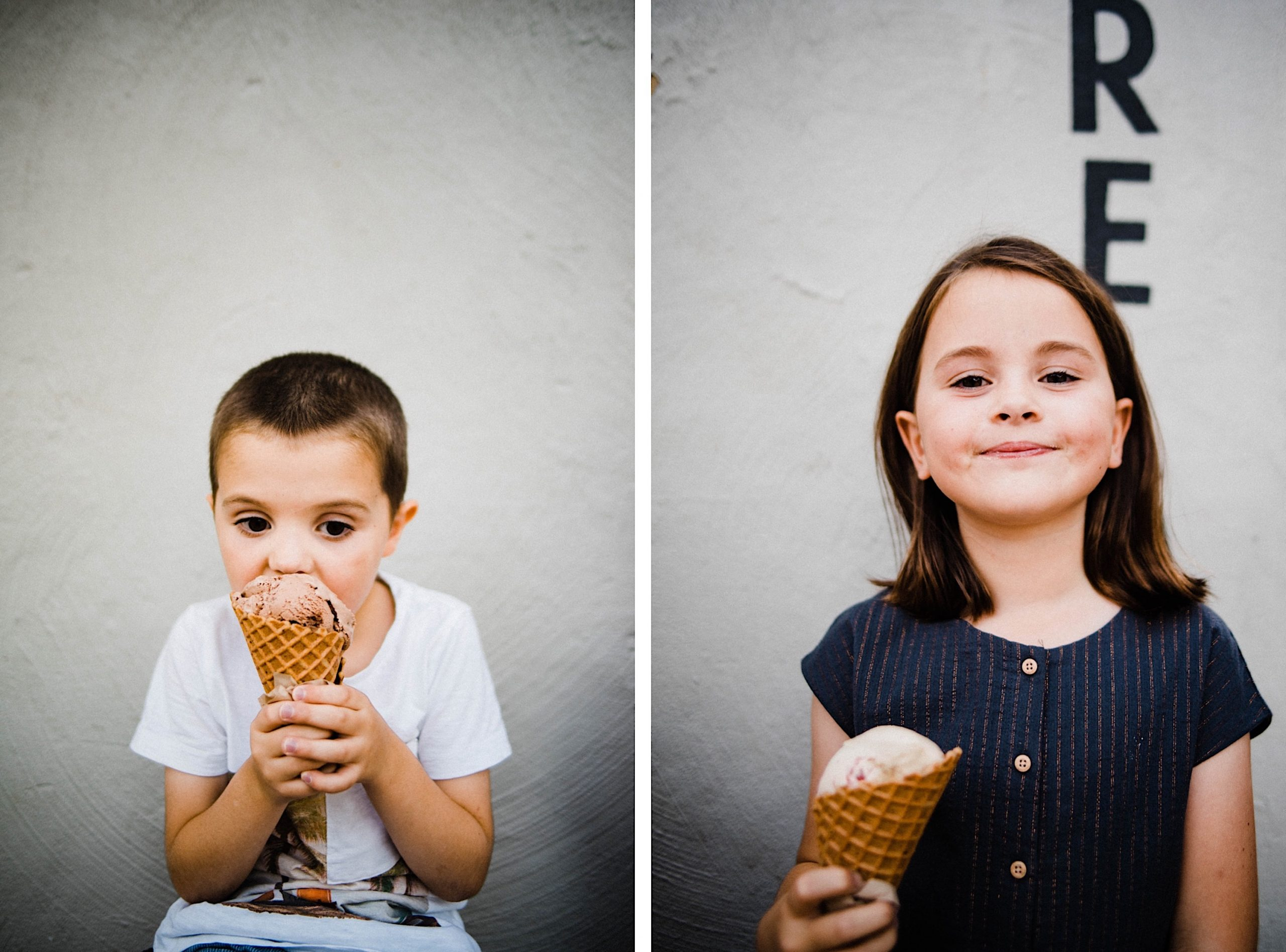 Two photos, side-by-side, of a brother and sister eating ice cream at Kuld Creamery in Fremantle.