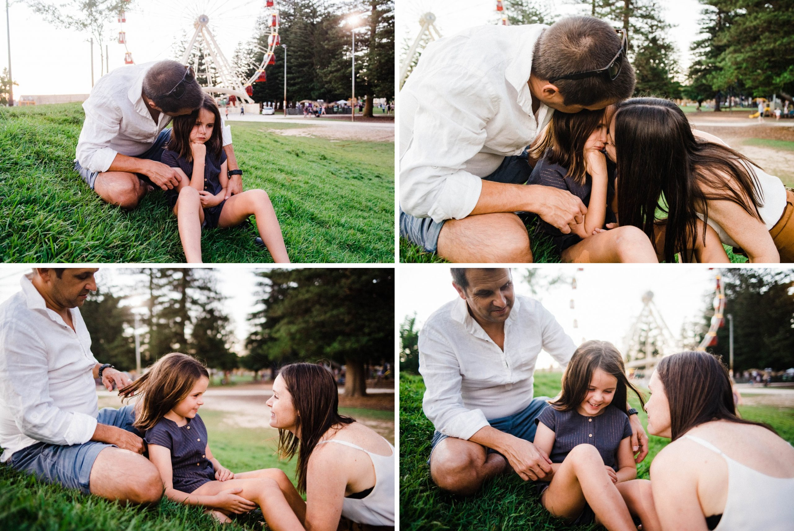 Four photos, telling the story of a girl crying and being comforted by her parents - she goes from looking sad to laughing at her Mum and Dad over the course of the photos.