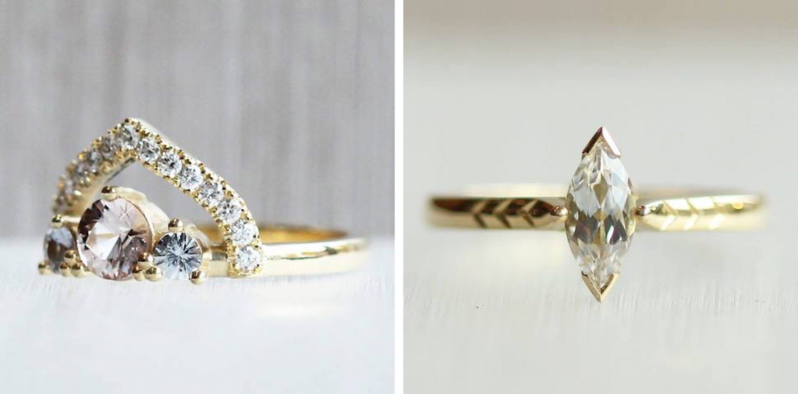 Two square photos of socially responsible wedding jewellery by FTJCo.