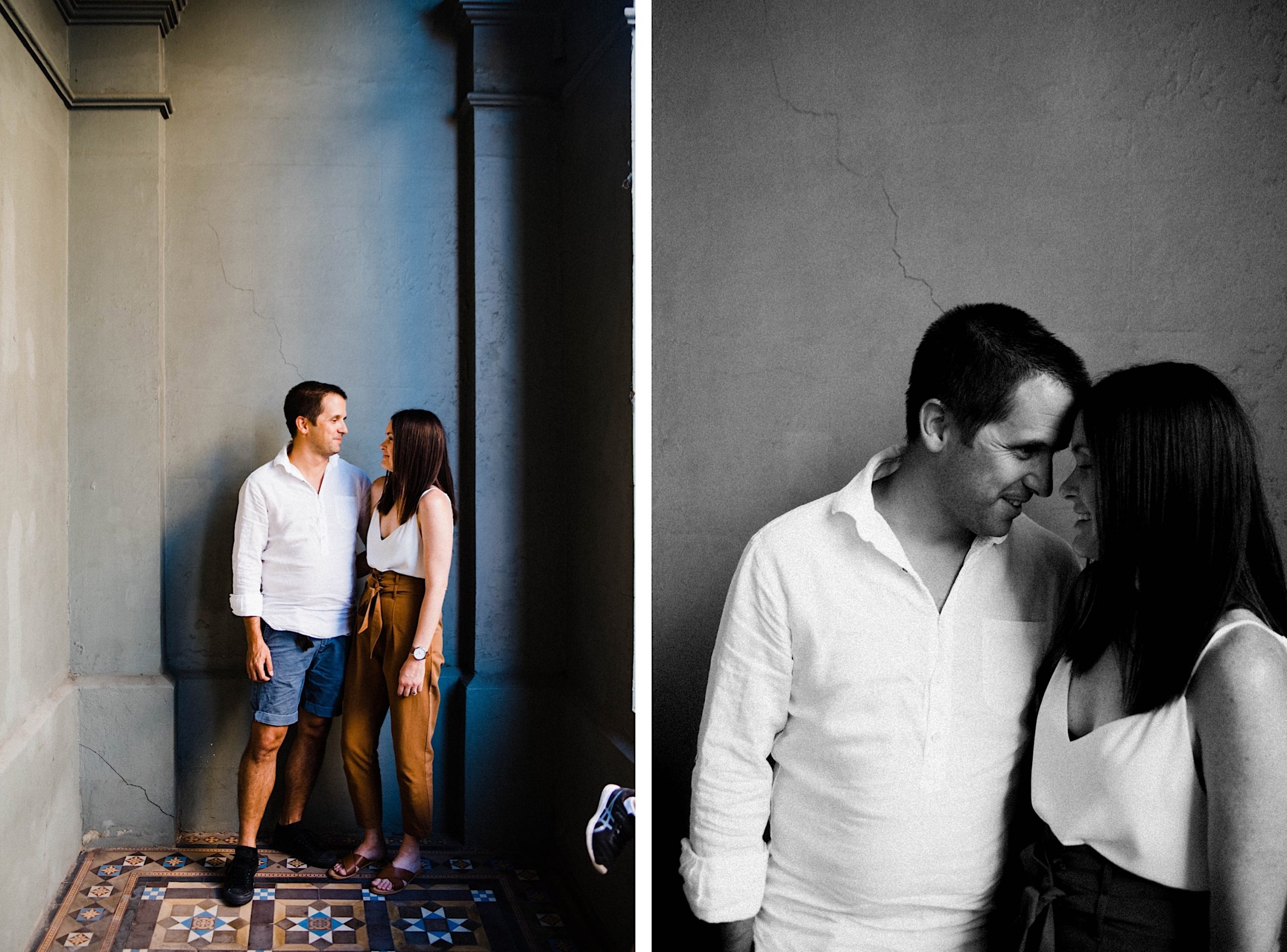 Two side-by-side images of a Mum and Dad taken in the porch of a Fremantle building during their candid family photo session. On the left, a wide shot with one of their kids shoes just entering in the frame on the left, on the right, a black & white close up photo of the couple.