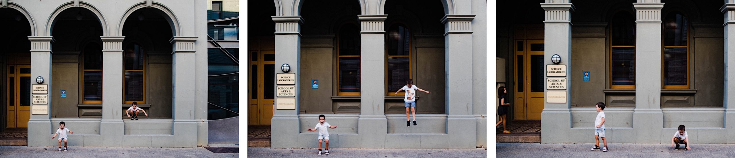 Three side-by-side images from a Candid Fremantle Family Portrait session with kids jumping off the lower walls of a heritage building's porch.