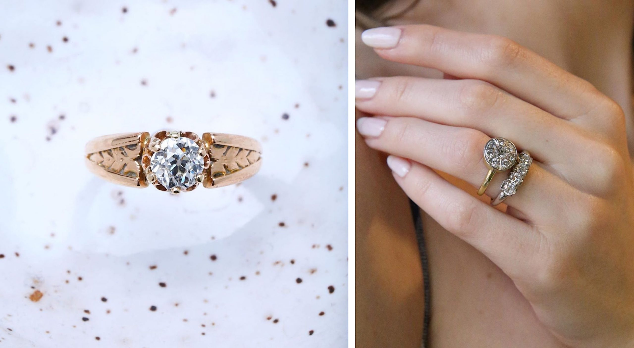 An eco-friendly vintage gold and diamond solitaire ring against a speckled background, next to a photo of two chunky diamond rings being worn by a model.