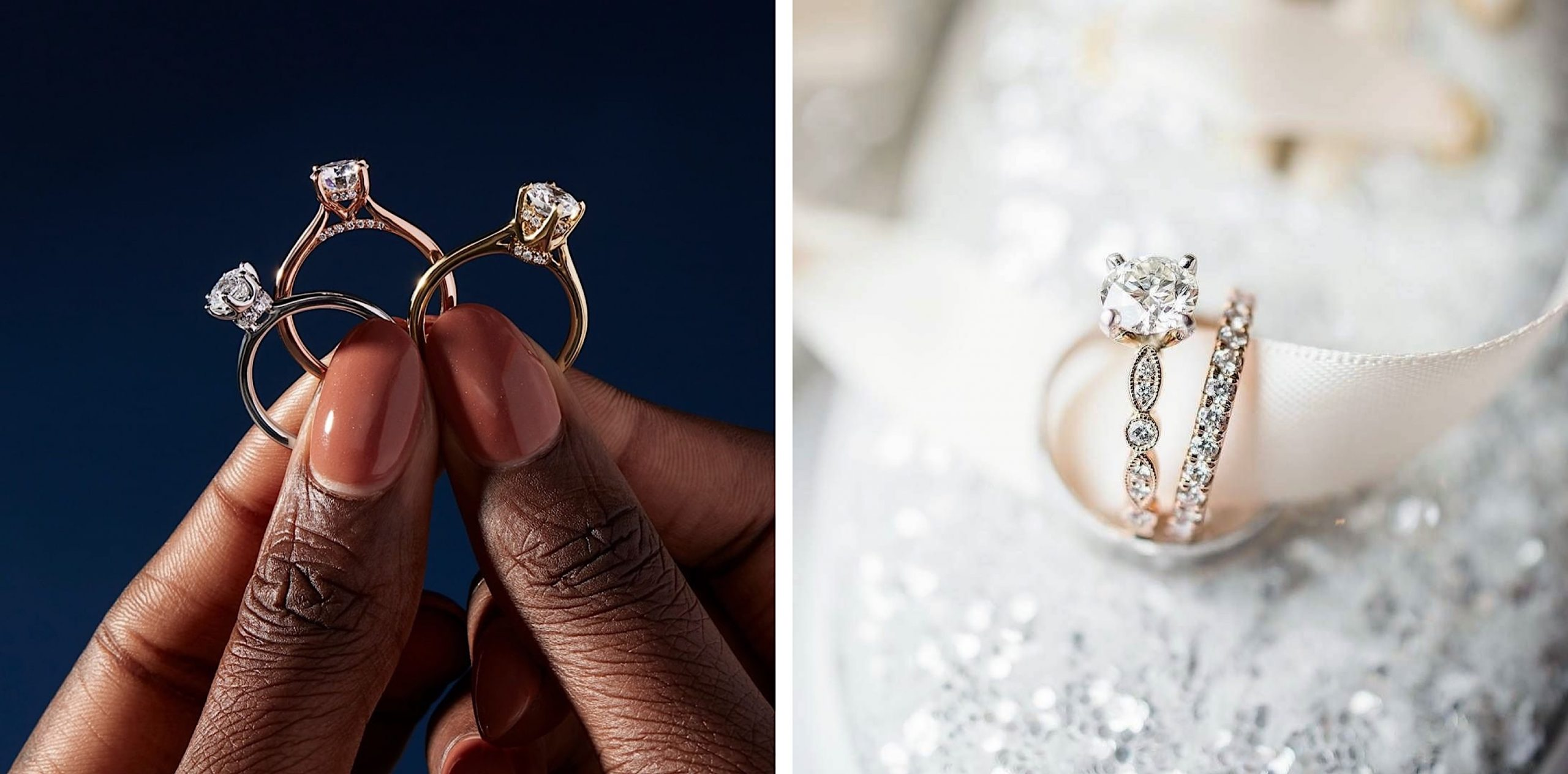 Two photos, the first a woman holding three solitaire rings and a styled shot of a matching diamond engagement and wedding ring set.