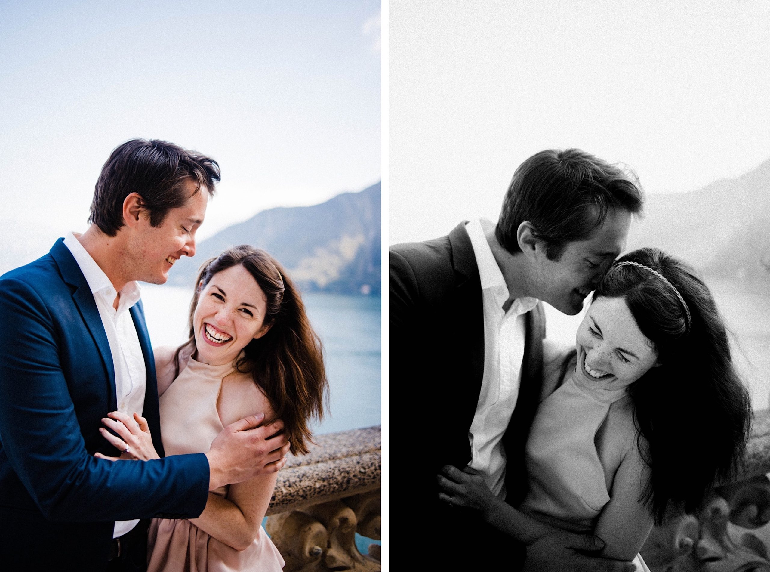 Two portrait images - on the left, a colour photo of a couple stand together laughing with a lake in the background, on the right, a black & white image of the couple in the same spot while he kisses her forehead.