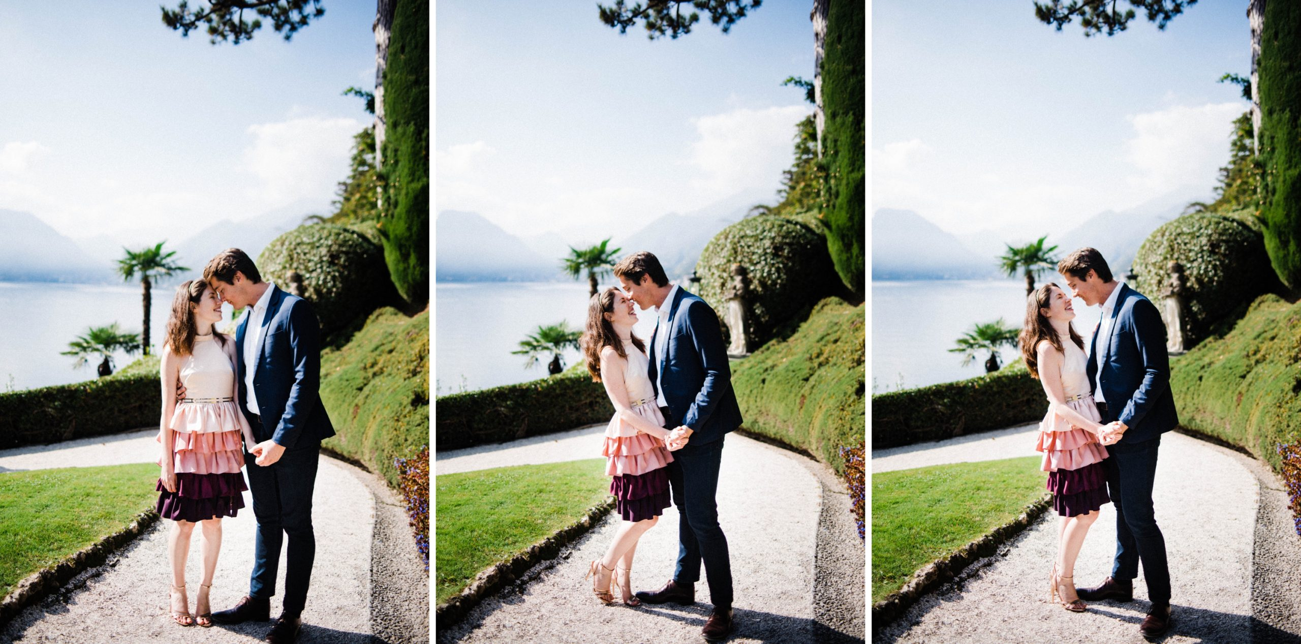 Three side-by-side photos of a couple sharing a romantic moment together at Villa Balbianello.