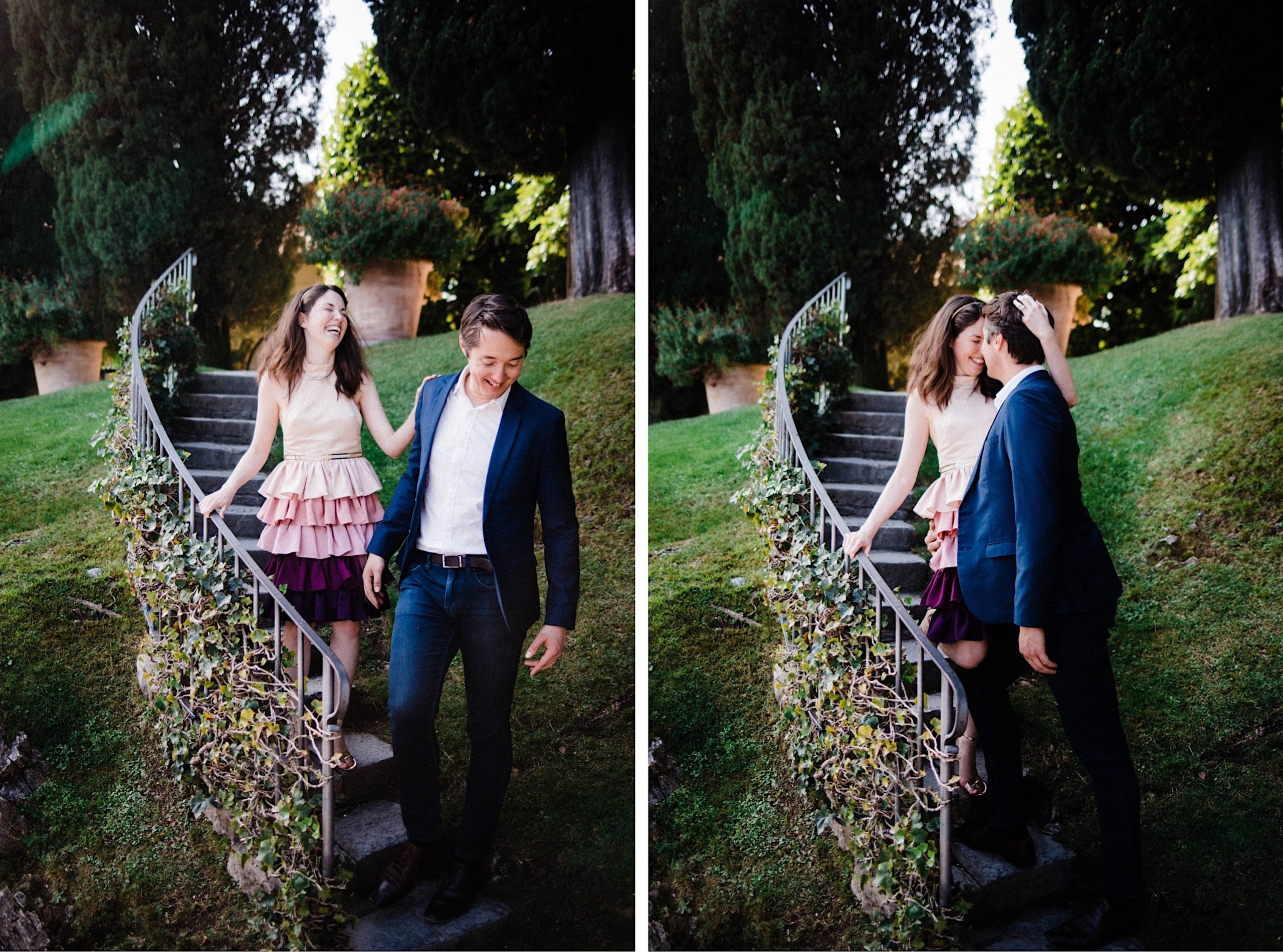 Two portrait photos of a couple walking down stairs with vintage iron balustrades. The couple laugh together in one photo and share a kiss in the other.