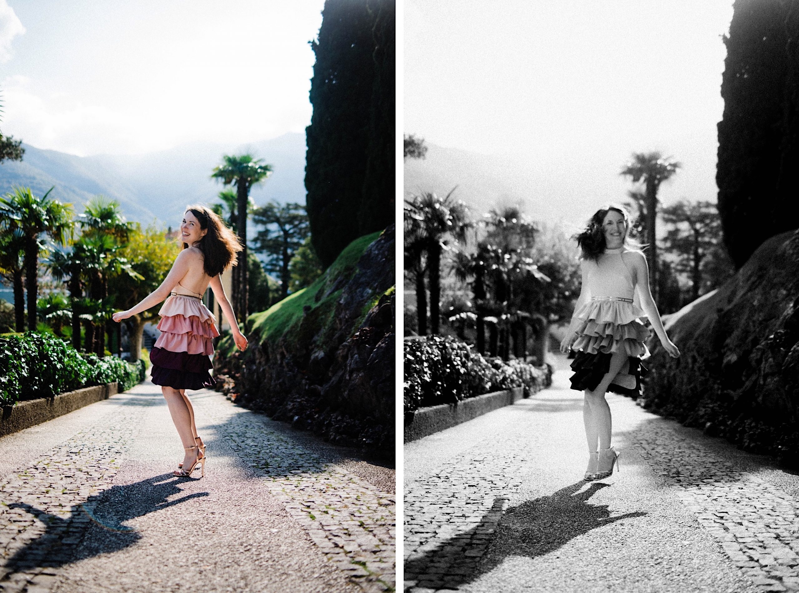 Two side-by-side photos, one in colour and one in black & white, of a woman twirling on the spot, showing off her custom-made, Star Wars inspired dress.