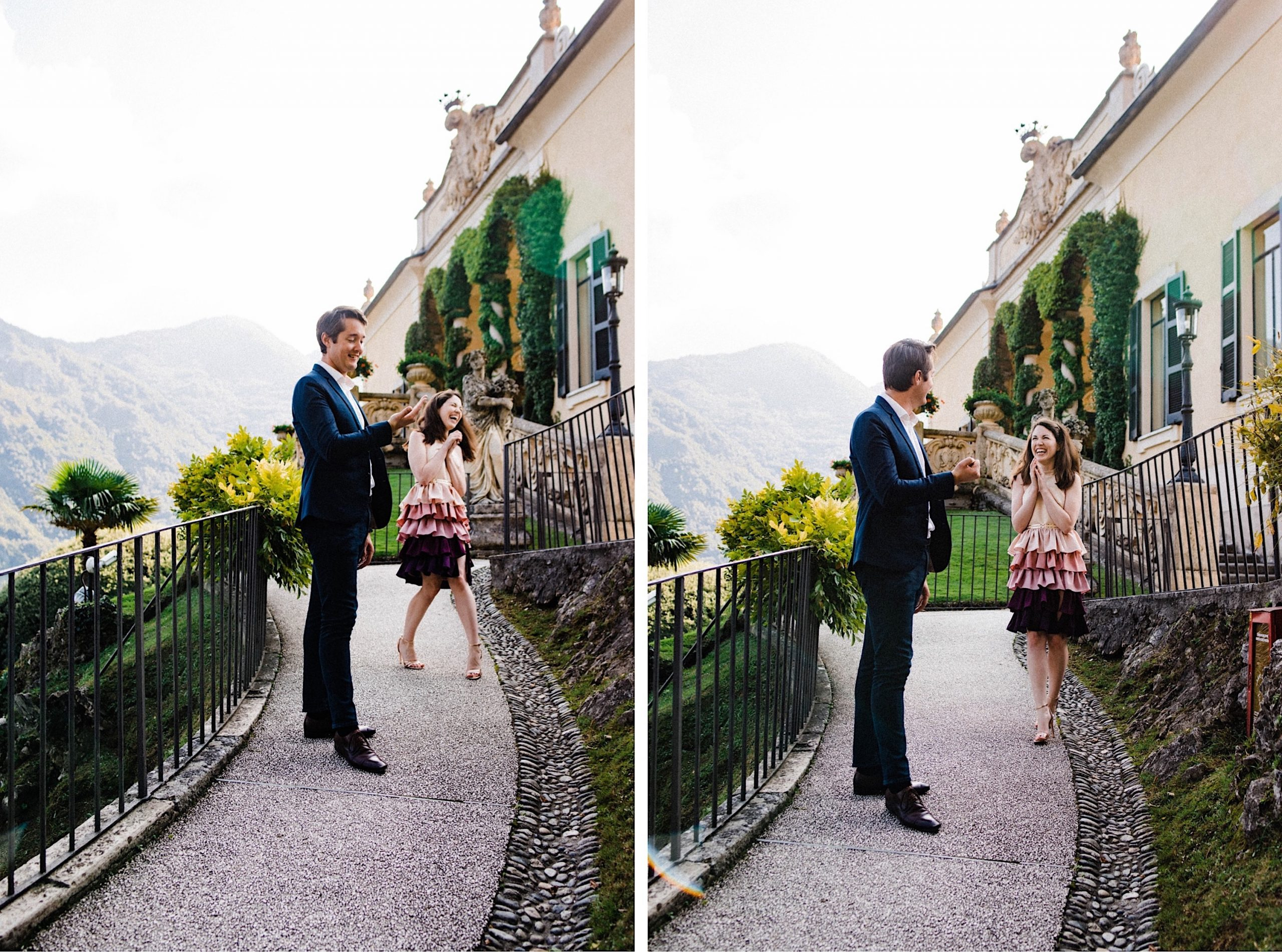 Two side-by-side images of a couple standing together laughing on a pathway leading up to Villa Balbianello.
