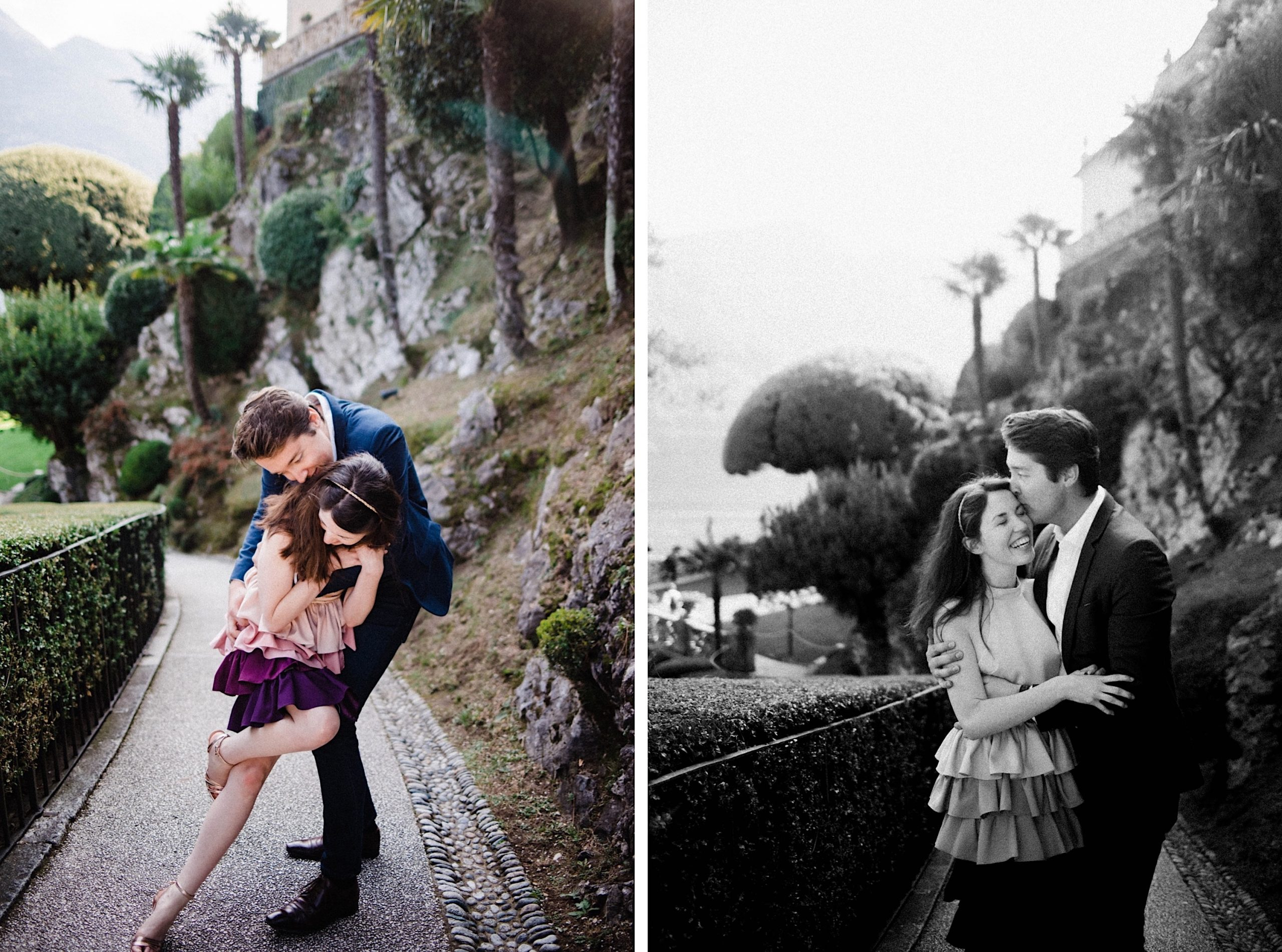 Two portrait photos, side by side. In the first, a couple dance together, the woman falling into her partner's arms. In the second, a black & white photo of the same couple hugging each other.