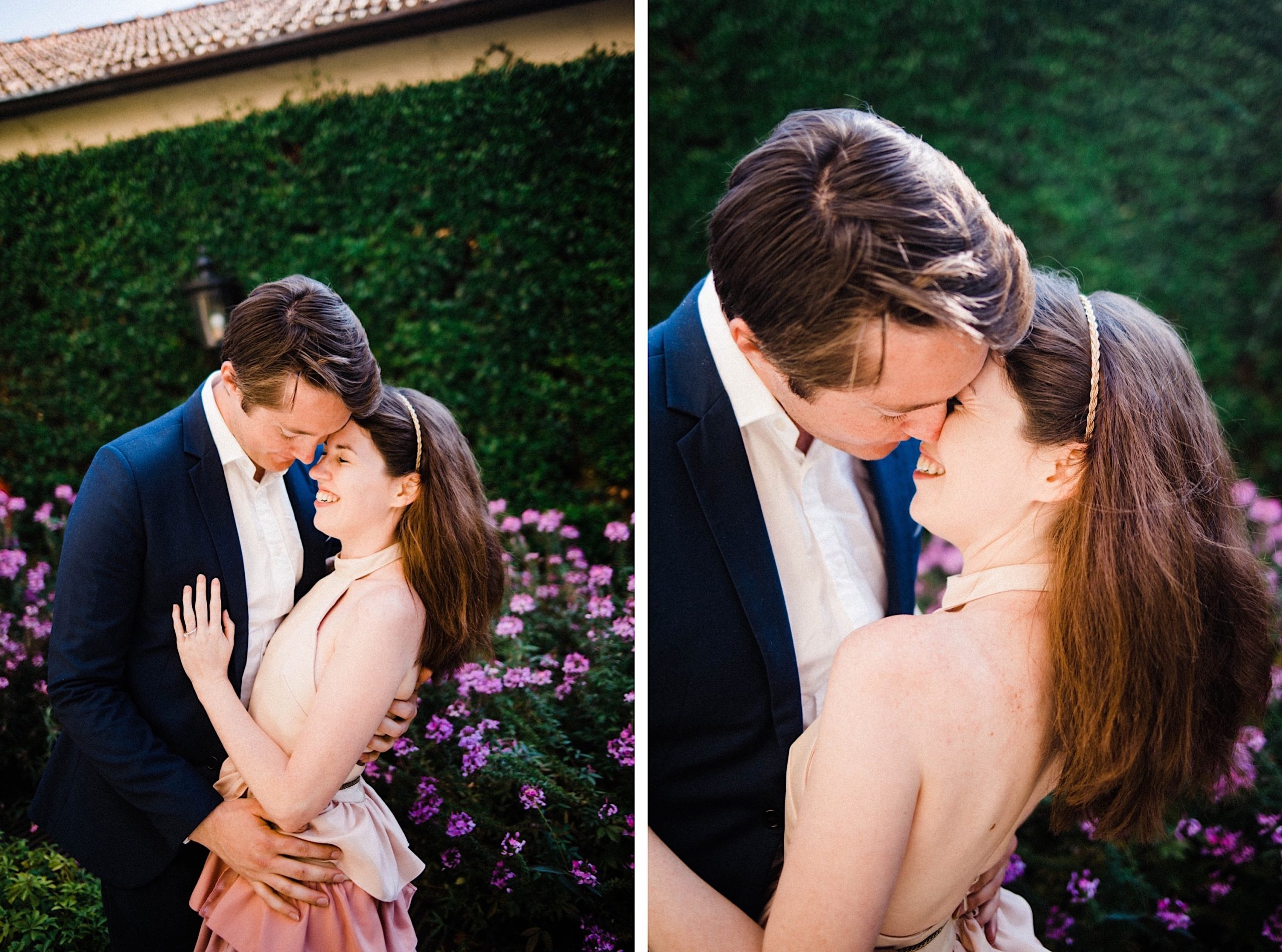Two side-by-side, natural portrait photos of an engaged couple sharing a moment in front of a garden.