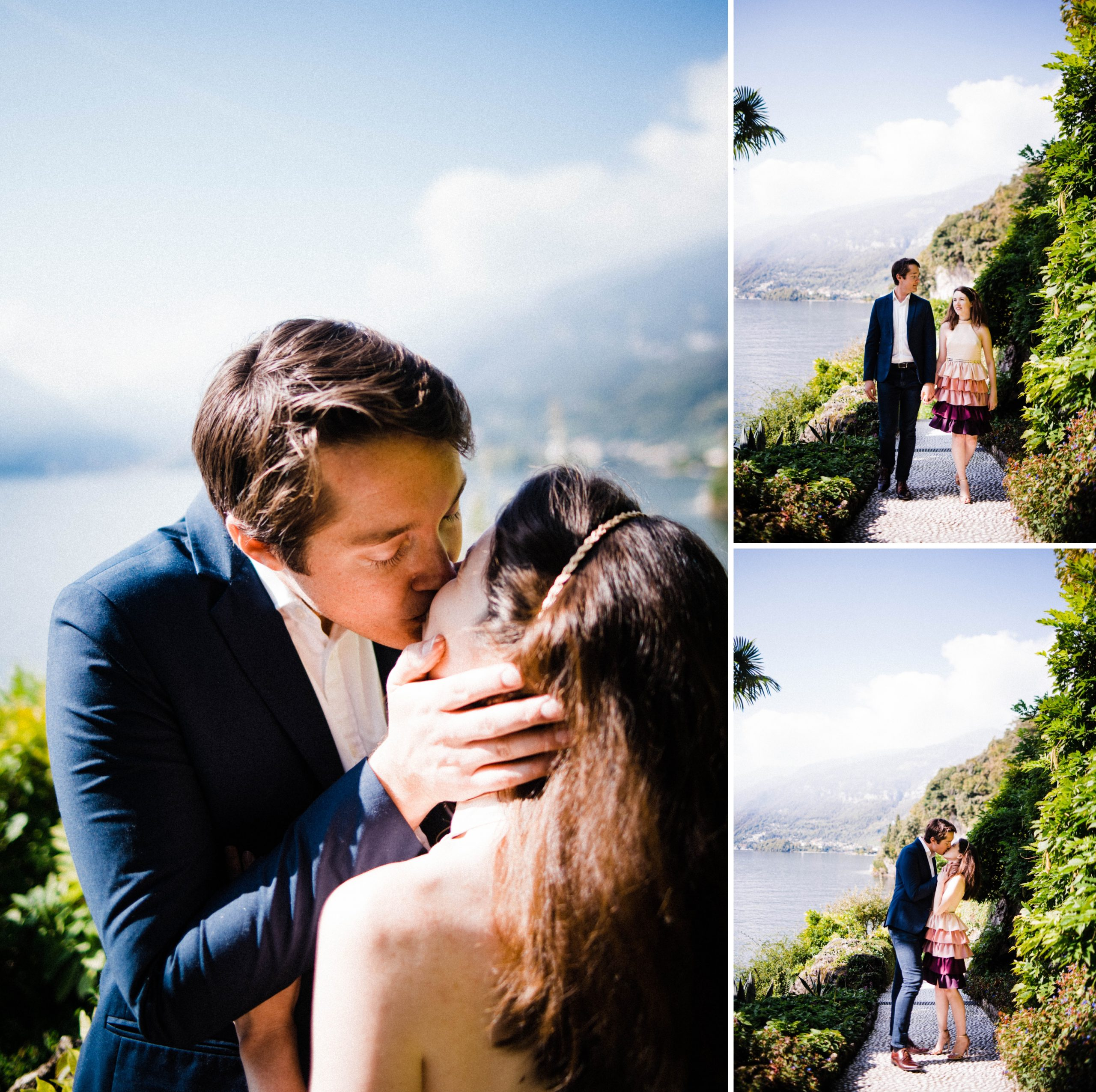 Villa Balbianello Portrait Photography, featuring three photos of a couple walking through the gardens, with Lake Como in the background.