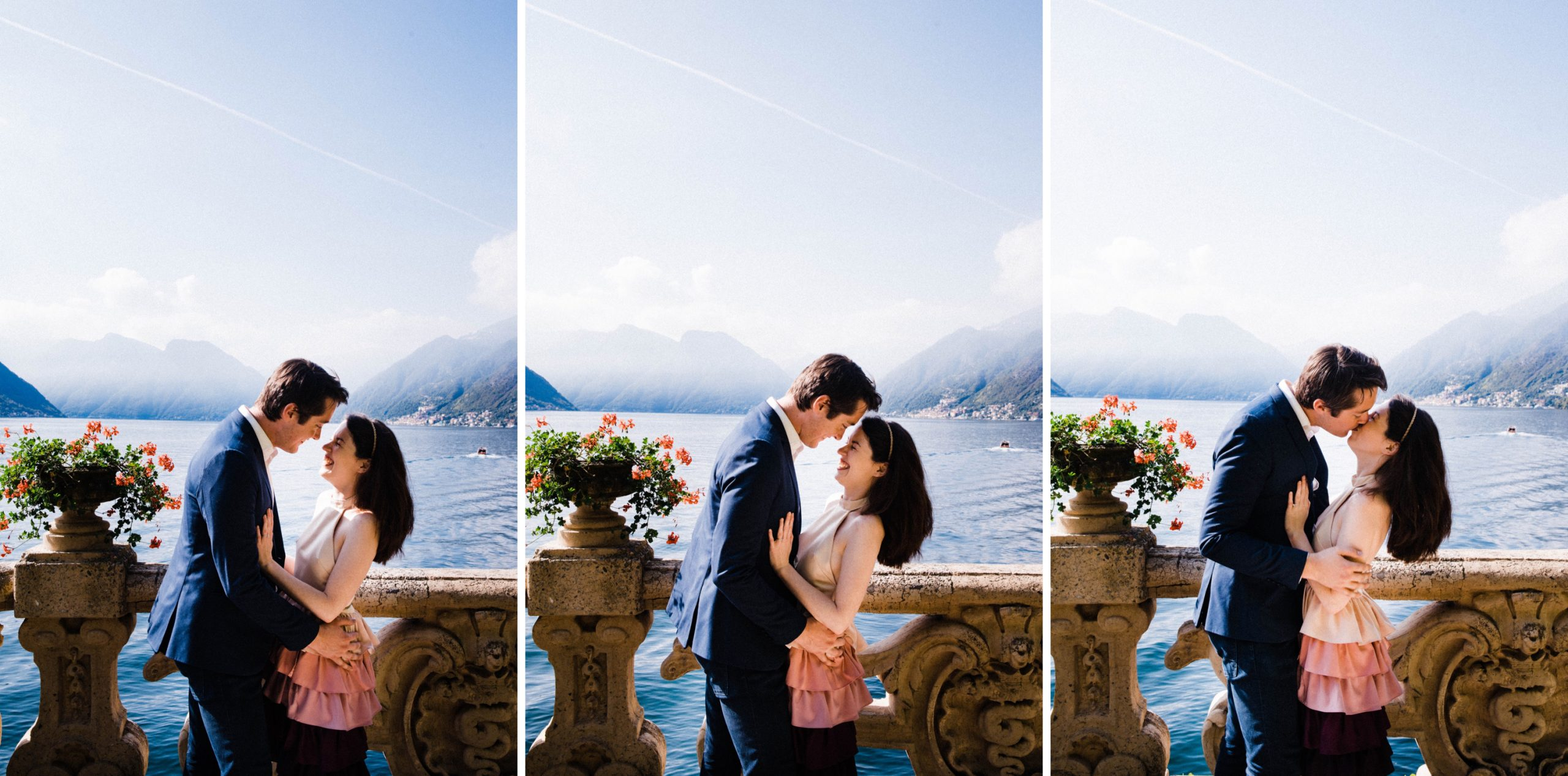 Three side-by-side portrait photos of a couple kissing in the gardens at Villa Balbianello, they stand against a lookout that looks over the lake towards Como.
