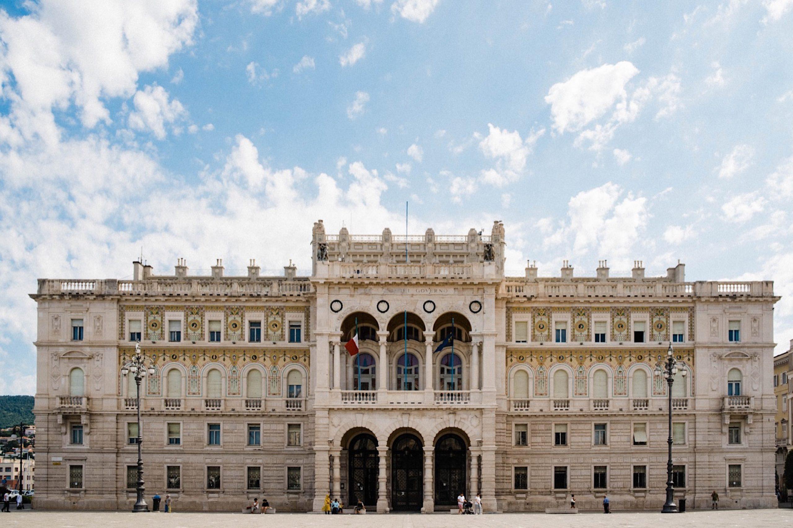 A wide photo of the Government Palace, or Palazzo del Governo, in the Piazza Unità d'Italia, Trieste.