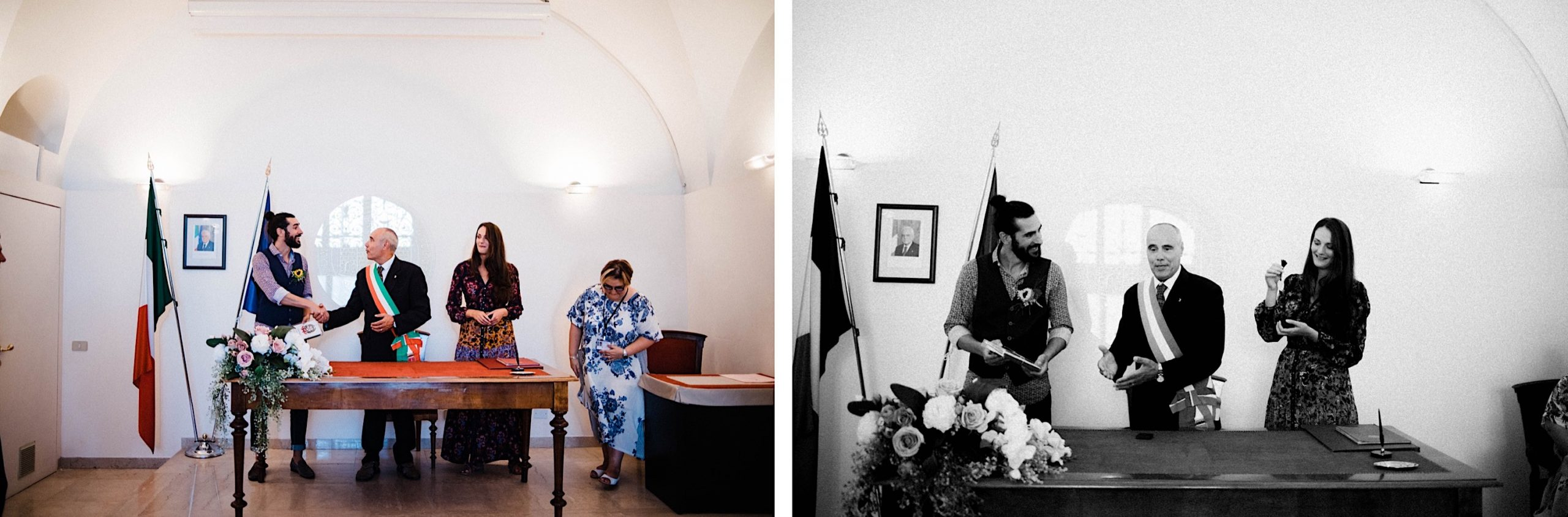 Side-by-side images of a bride & groom signing their wedding certificate at the Trieste comune.