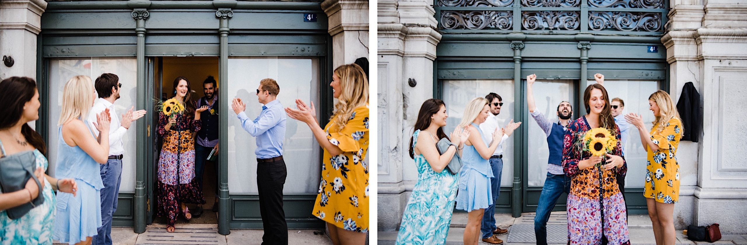 Two wedding photos of guests lined up outside the Trieste comune, clapping the newlyweds as they walk out of the comune.