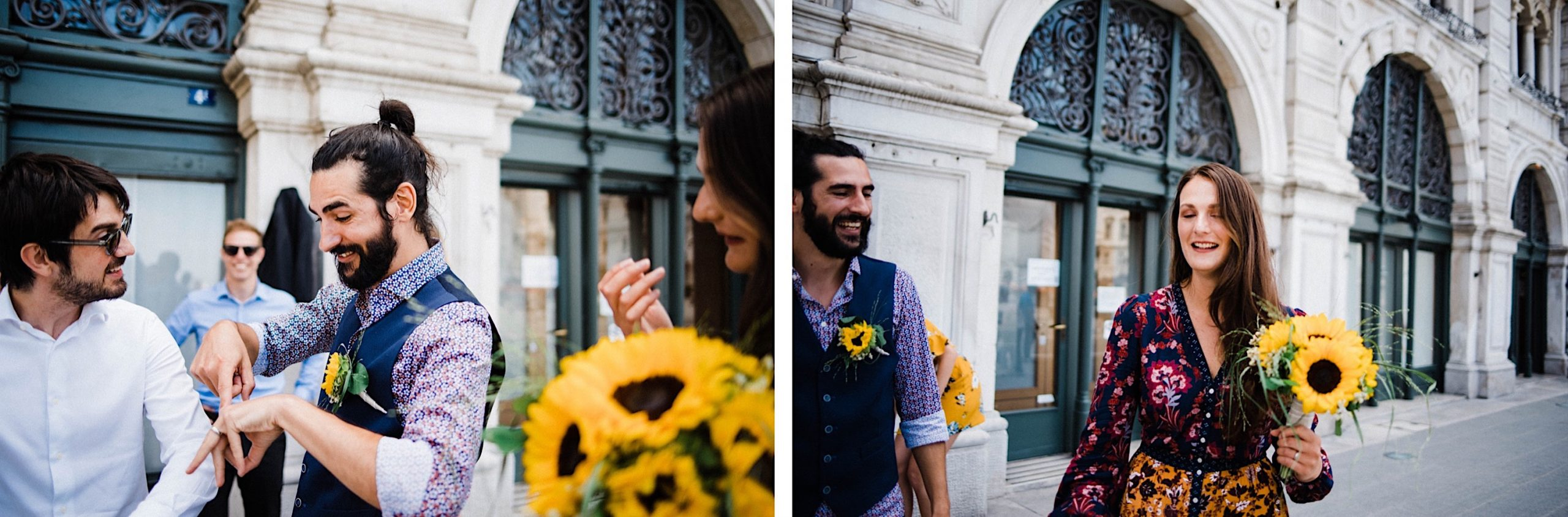 Two photos of newlyweds celebrating after their elopement ceremony in Trieste.