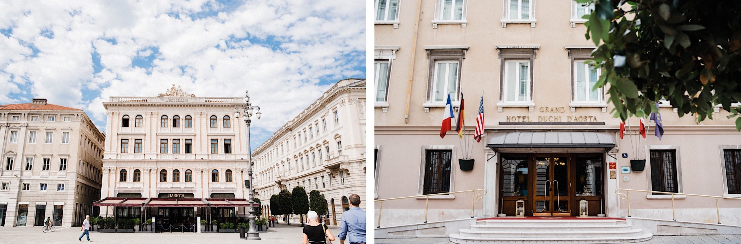 Two images side-by-side of the Grand Hotel Duchi D'Aosta in Trieste.