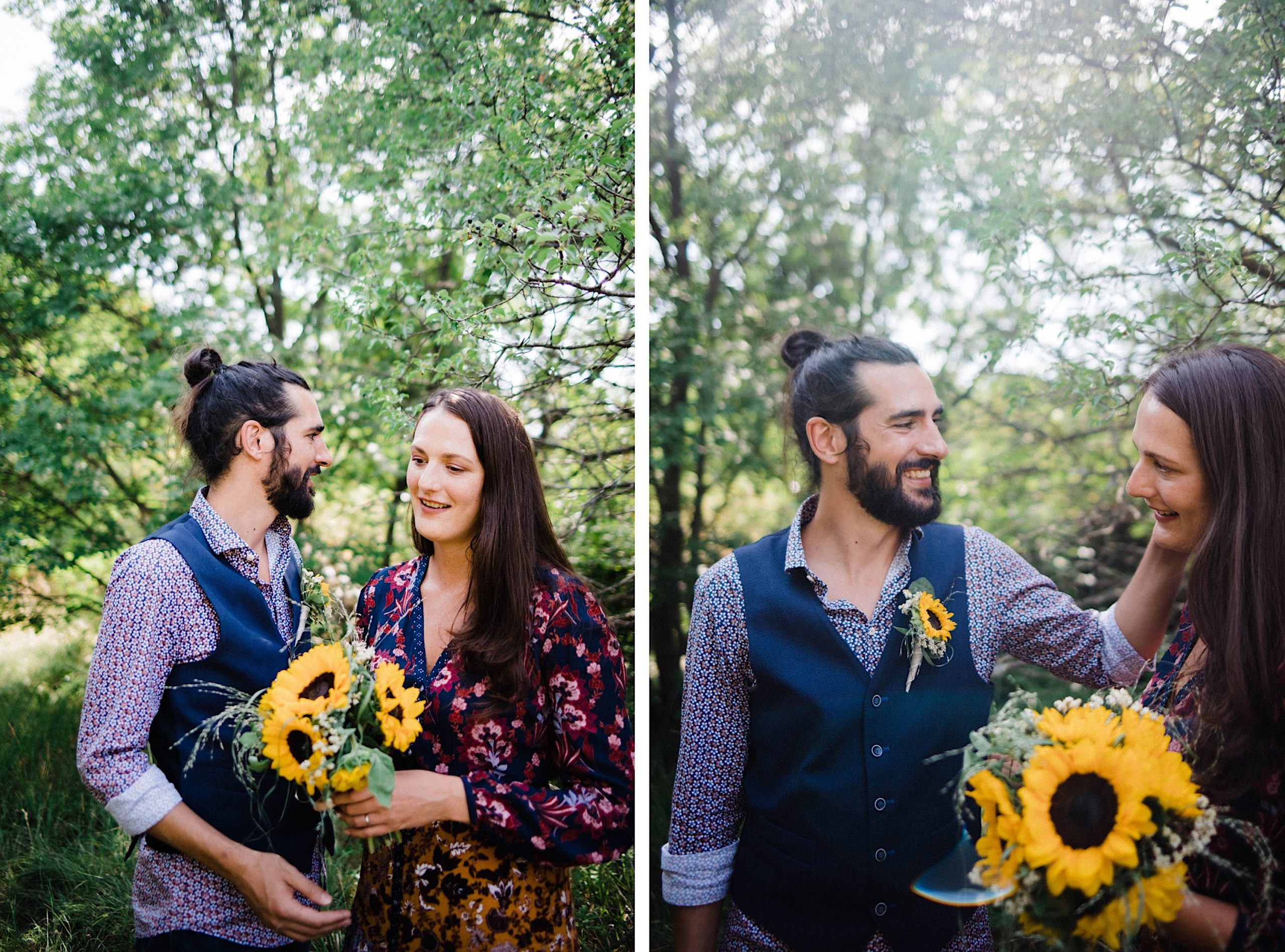 Side-by-side portraits of a couple smiling together in the Slovenian woods bordering Italy after their Italian wedding..