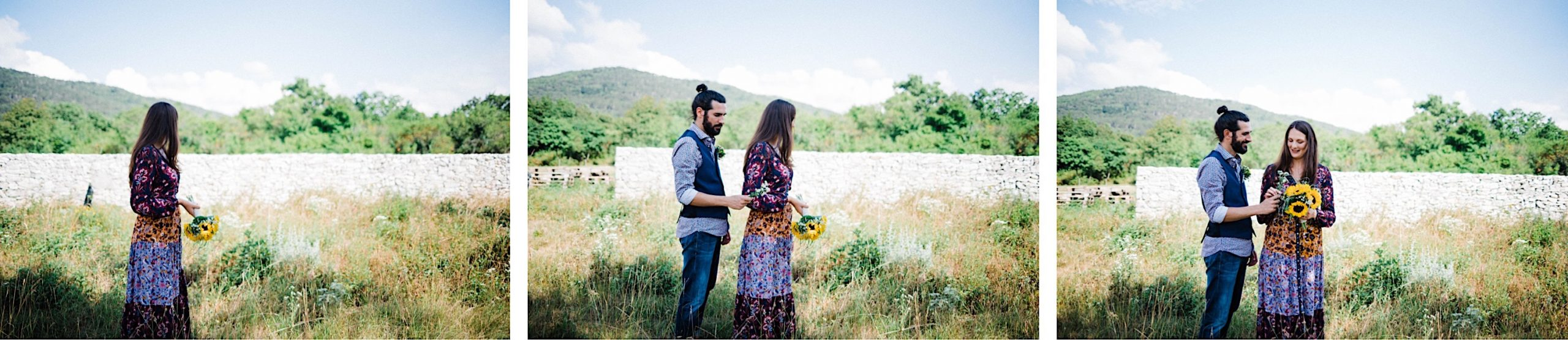 Three side-by-side photos of a newlywed couple standing in front of a traditional farm stonewall, in the Slovenian countryside. The groom walks into the frame and hands the bride a wildflower he's picked.