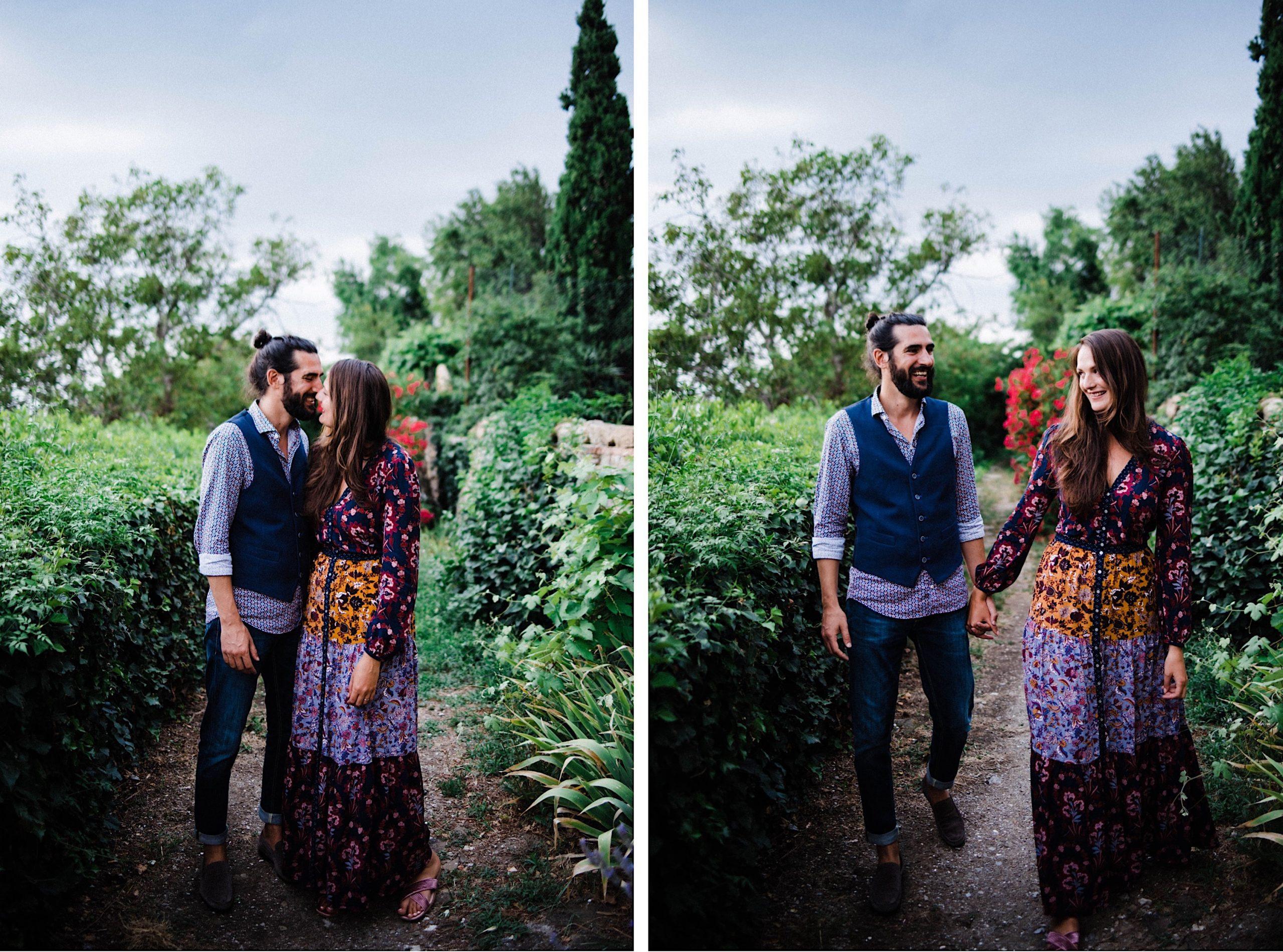 Side-by-side Italian elopement portraits of a newlywed couple walking through a garden near Osmiza Stoka, in the hills of Trieste.