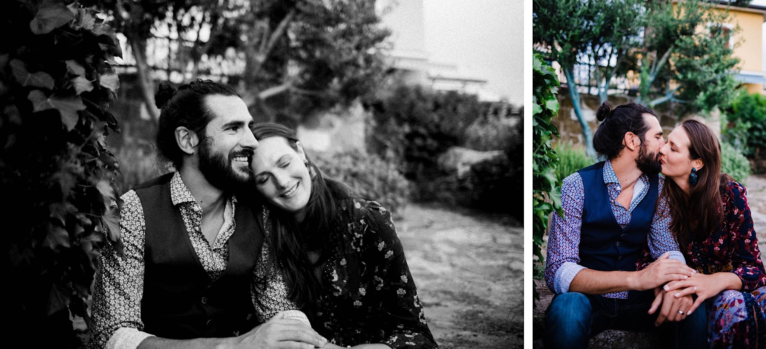 Two side-by-side photos, one black and white, the other colour, of a couple during their portrait session after their Italian elopement.