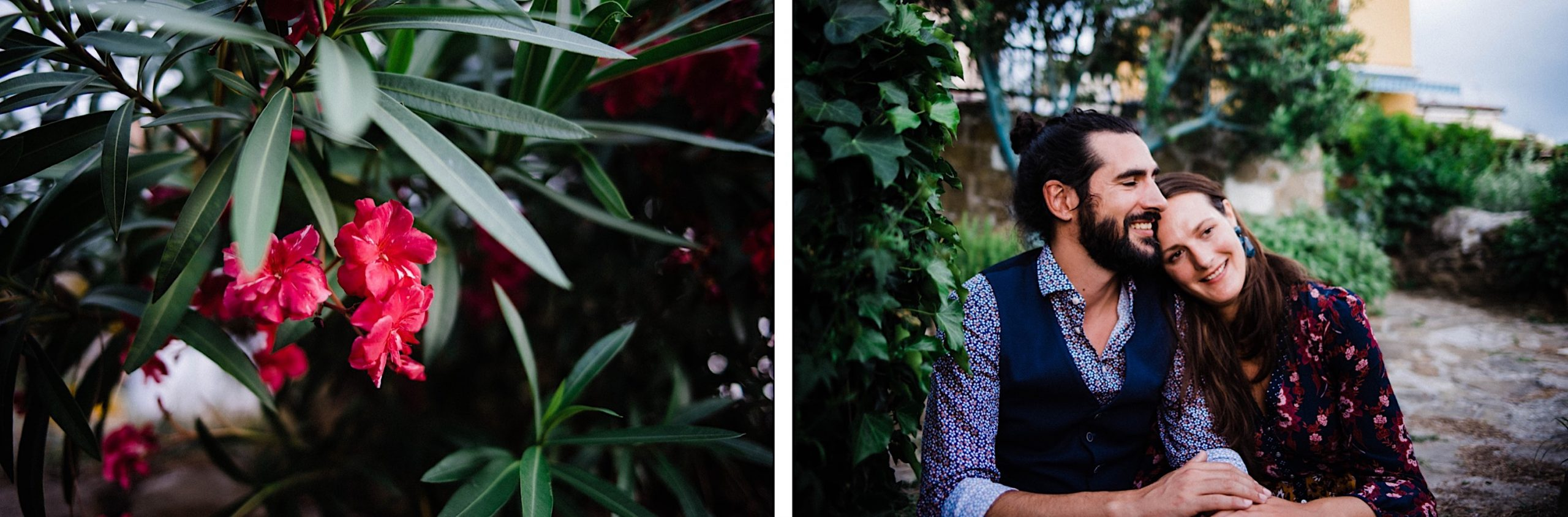Two photos from an Italian elopement in Trieste, one of some pink flowers, and the other of a newlywed couple sitting together and smiling in a garden outside Osmiza Stoka.