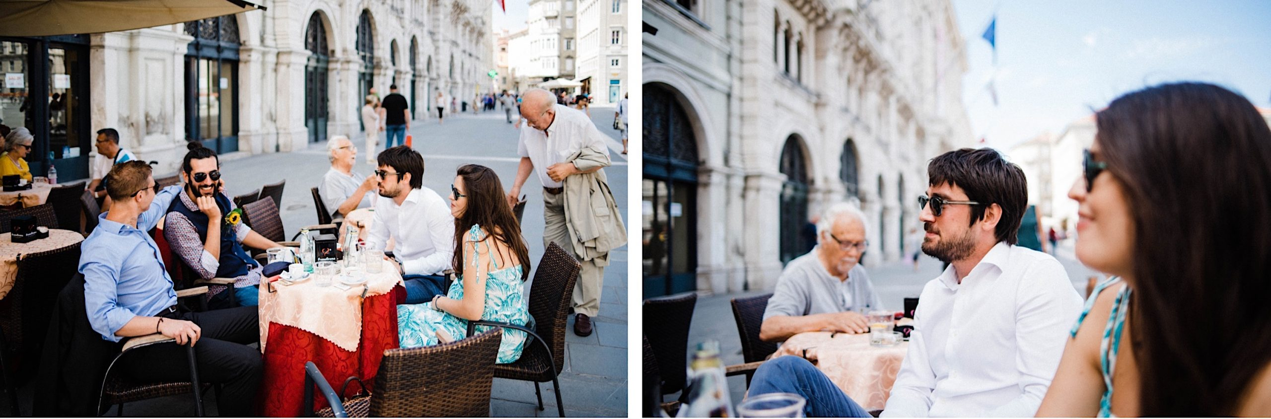 Two side-by-side photos of a wedding party sitting at a cafe in the Piazza Unità of Trieste before a Town Hall Elopement.