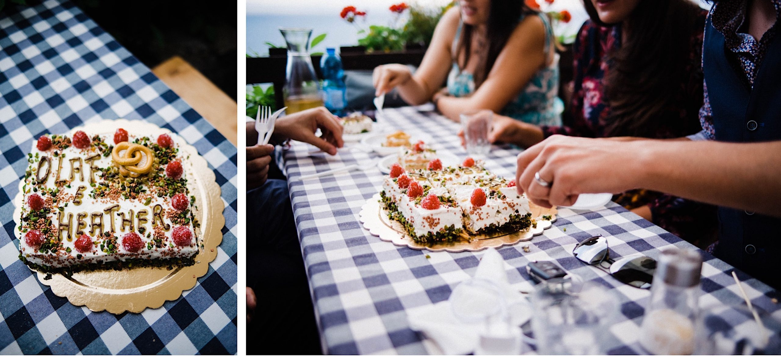 Two photos of a wedding cake, in Italy, with the bride & groom's name in icing. The cake has raspberries and pistacchios, and in the second photo, the groom is handing out pieces to the 8 guests.
