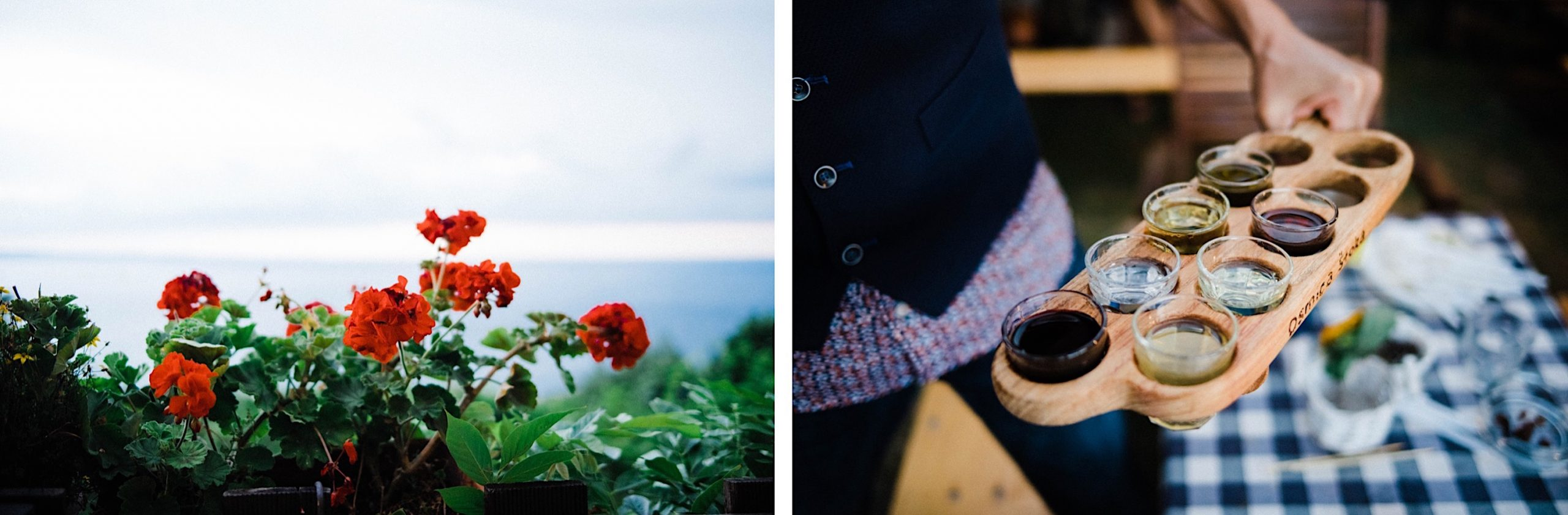 Two detail photos from an Intimate Wedding Dinner at an Osmiza in Trieste, the first of red geraniums looking out over the Adriatic Sea, the second a tray of seven different Grappa shots.