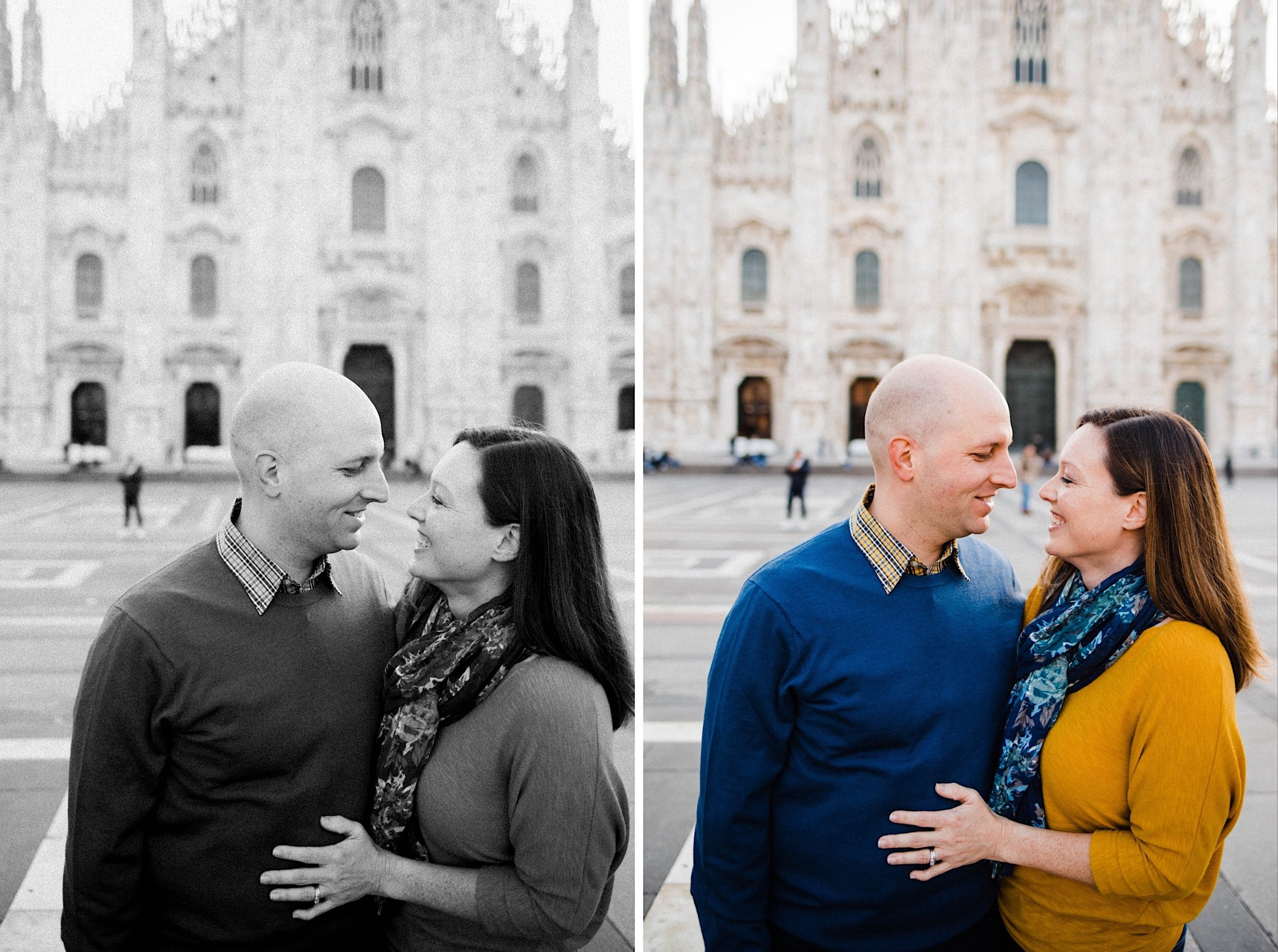 Two portrait photos, side-by-side, of a couple kissing in front of the Duomo di Milano.