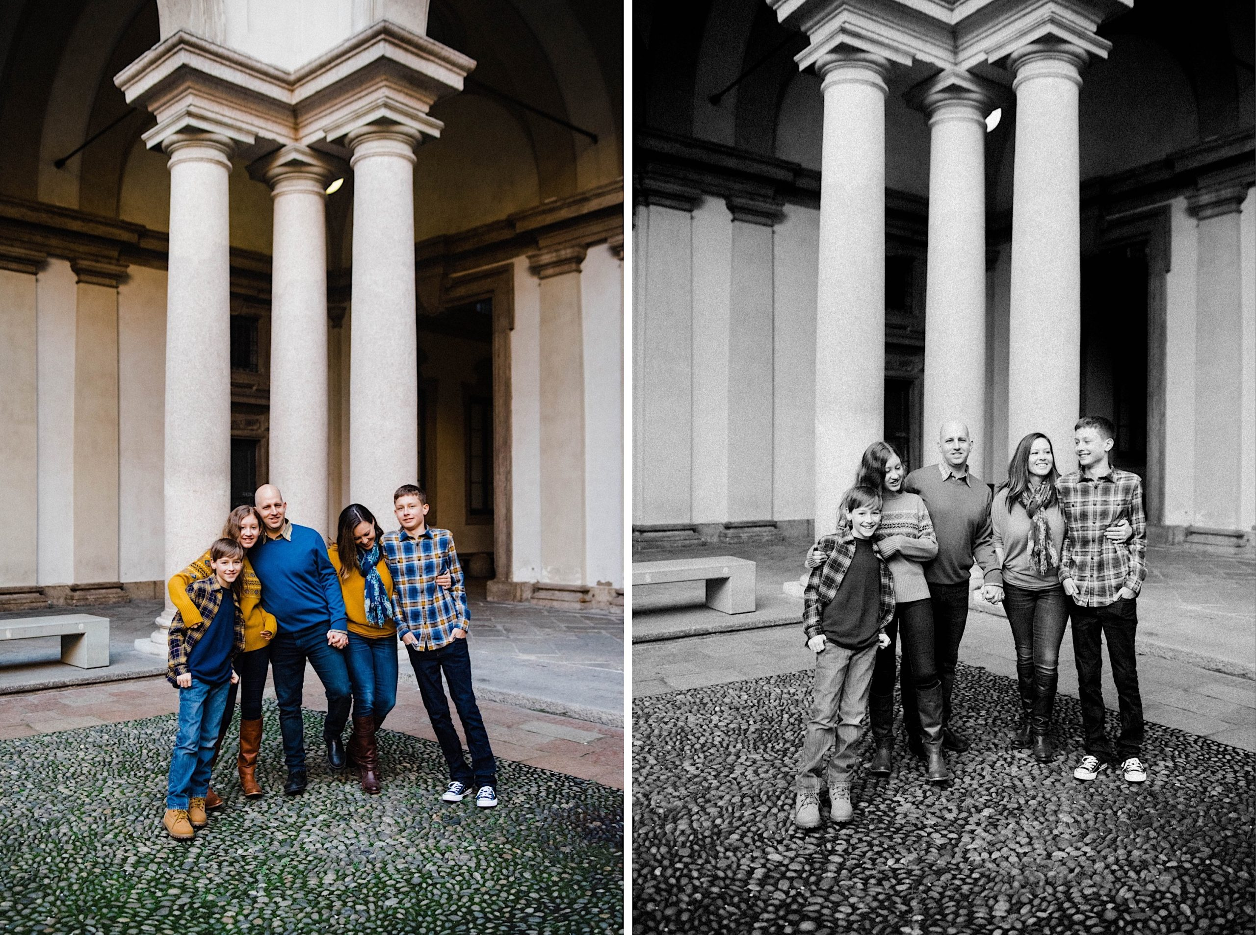 Side-by-side family photos of a family, with three teenagers, laughing together at the Pinacoteca di Brera in Milan.