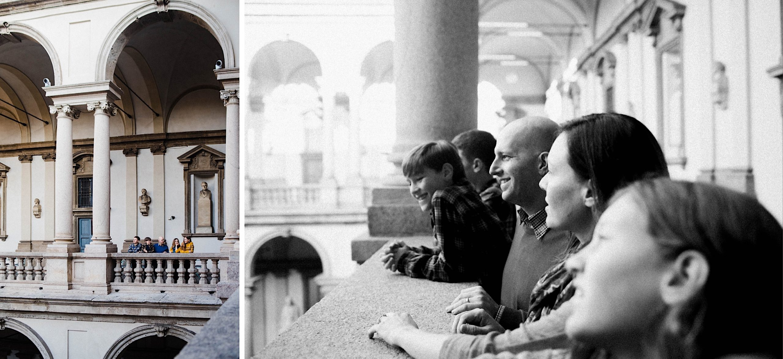 Family photography in Milan of a family at the Pinacoteca di Brera, on the left, a wide shot of the family standing on a terrace, on the right, a black & white photo taken from the side as the family all look down into the courtyard.