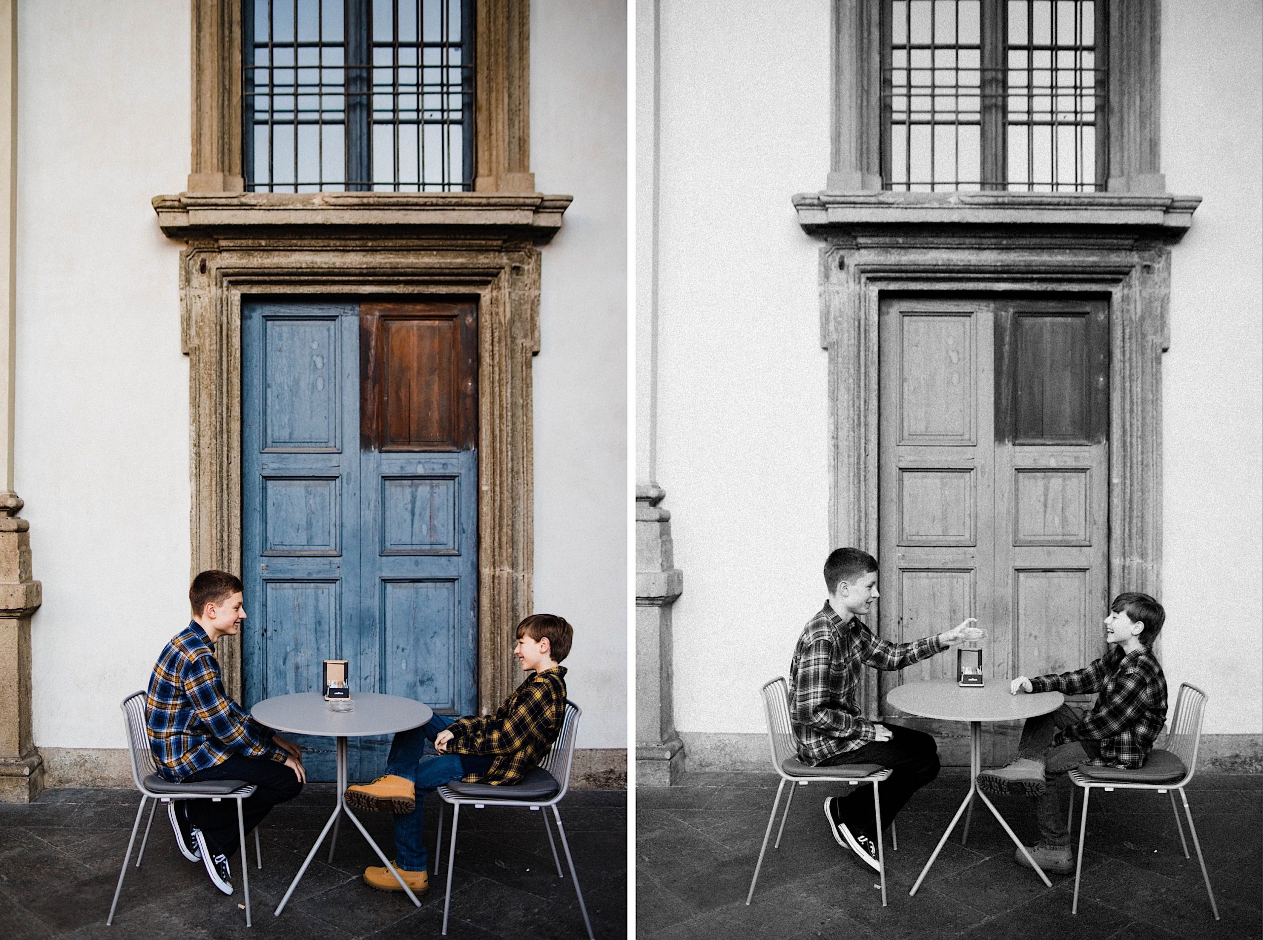 Two portrait photos of a two teenage brothers sitting a cafe table, joking together.