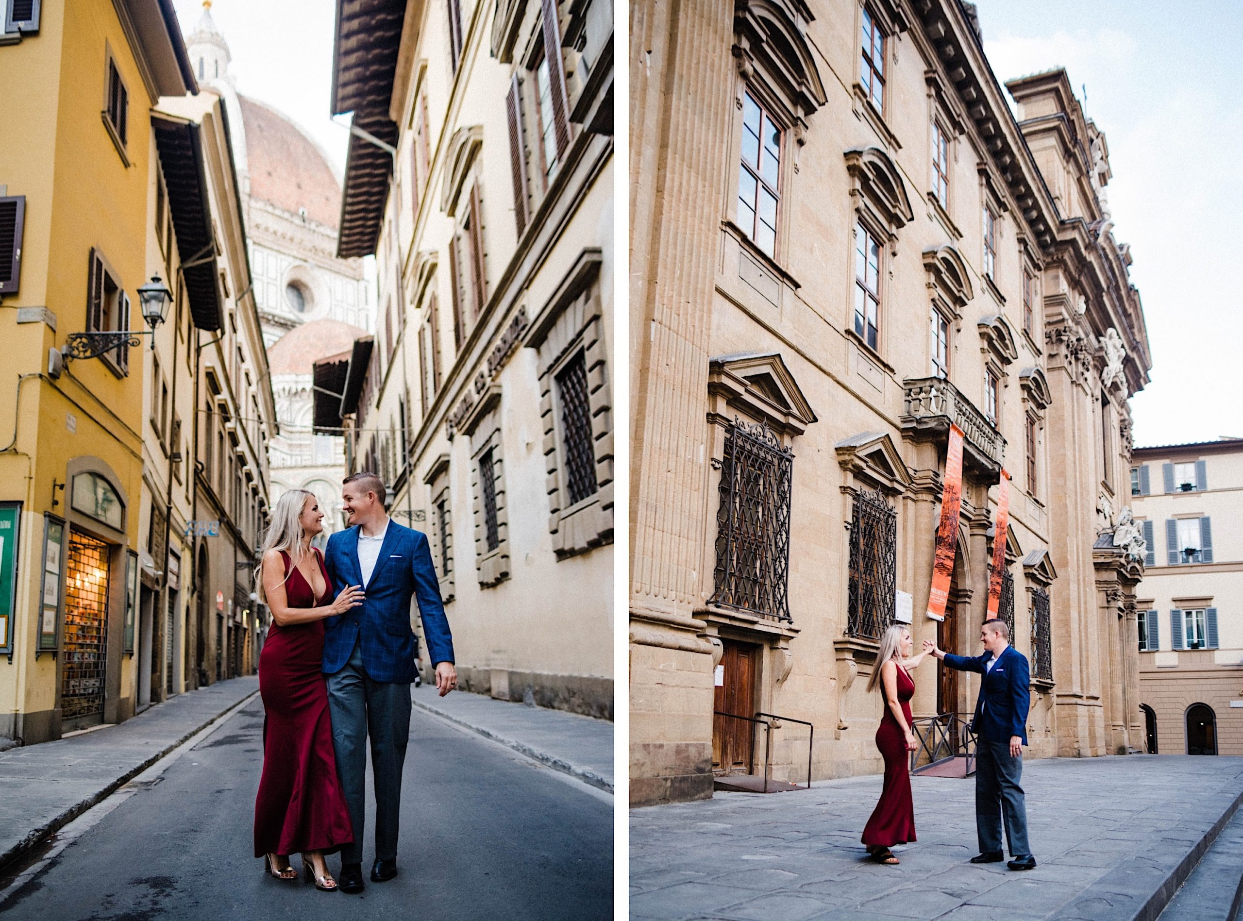 Side-by-side images of a couple walking and dancing through the streets of Florence.