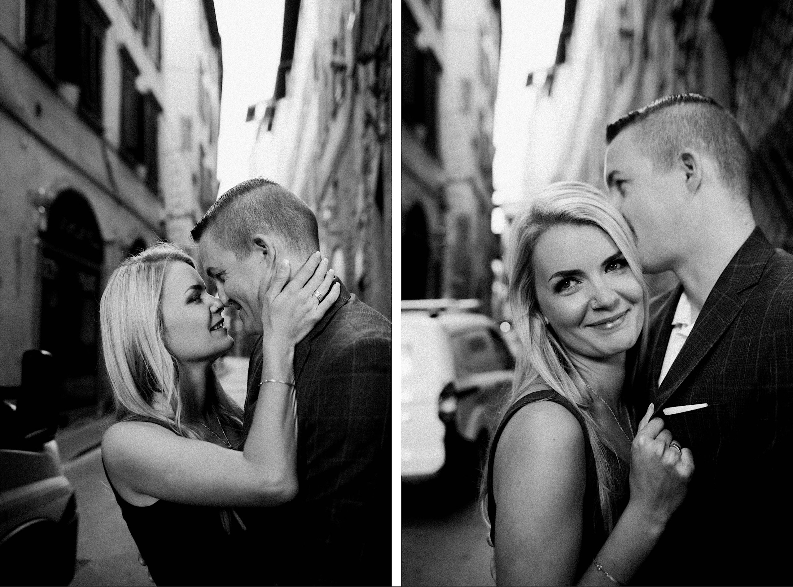 Two black & white images of a couple kissing and smiling in a sweet Florentine street.