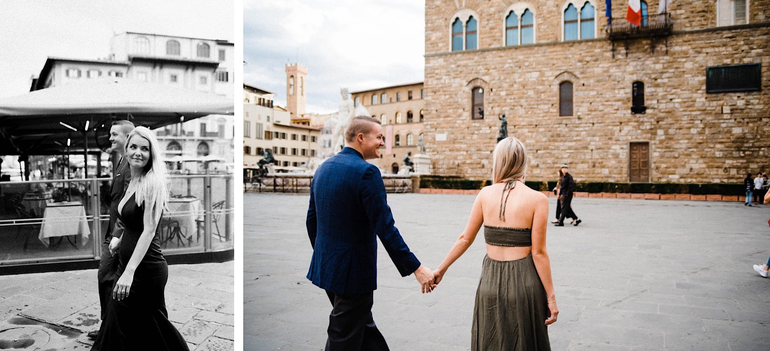 Two photos of a couple walking through the Piazza della Signoria in Florence, with buildings in the background. The photo on the left is black & white.