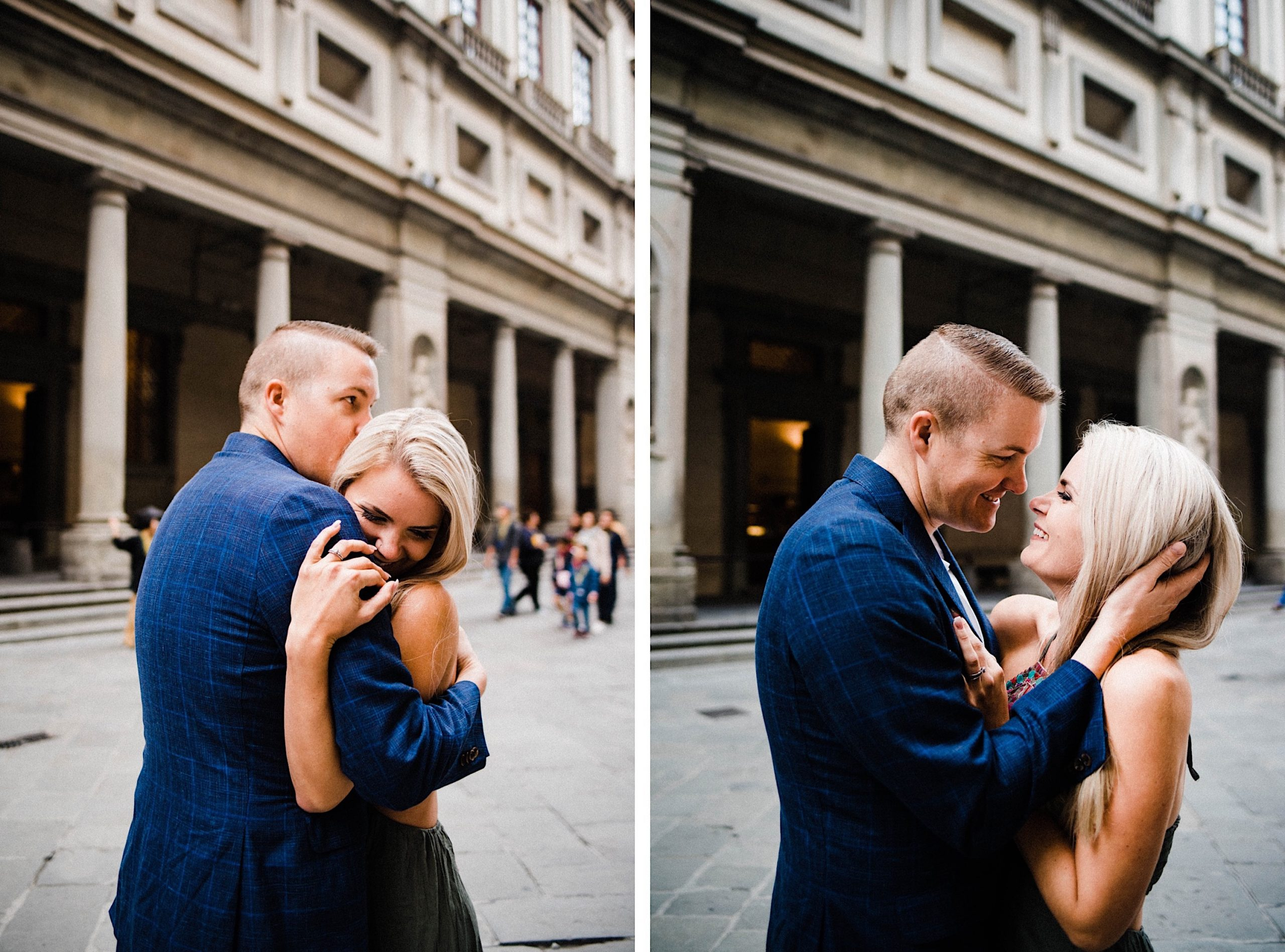 Side by side portrait photos of a couple embracing in front of the entrance of the Galleria degli Uffizi in Florence.